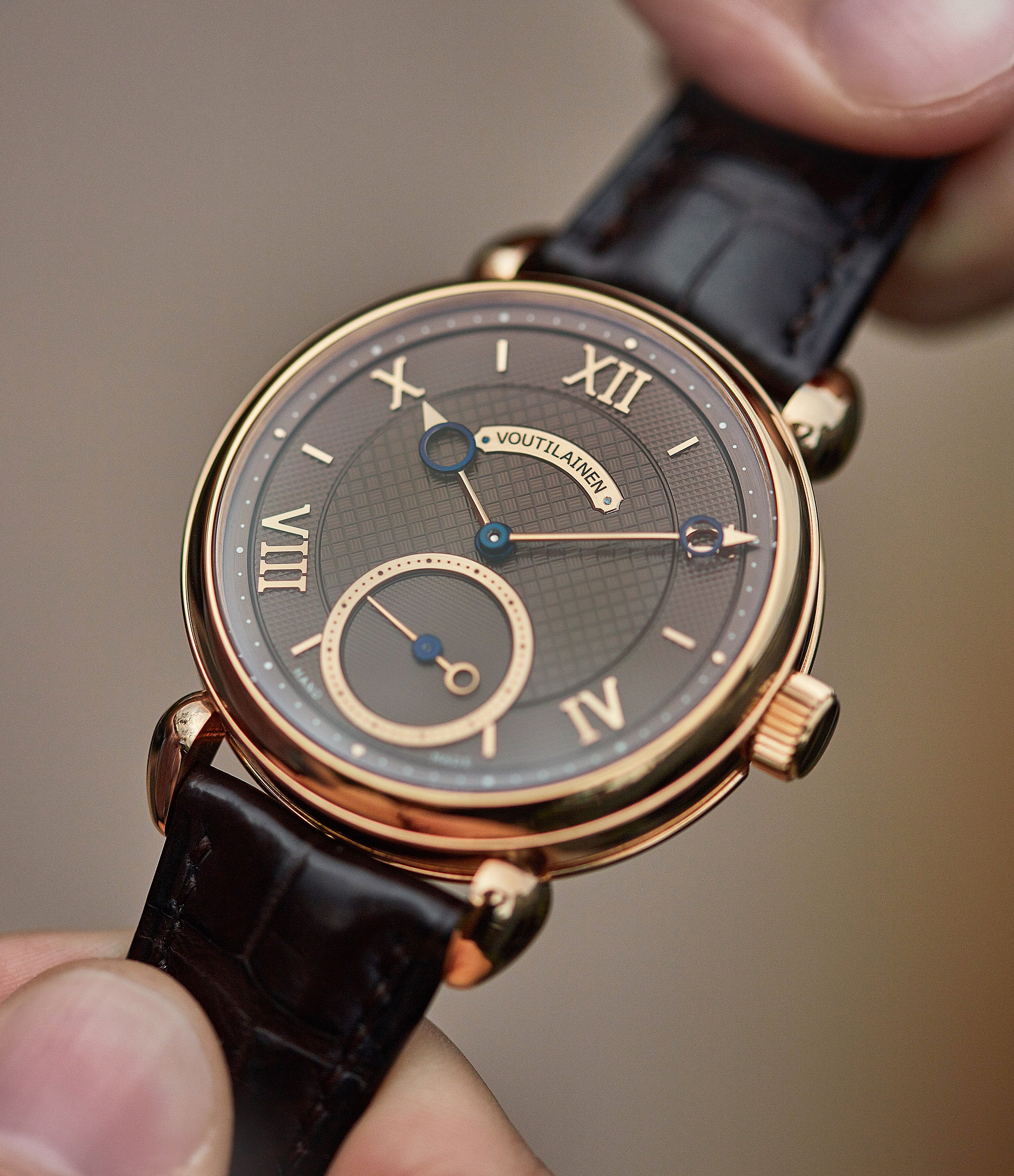 selling Kari Voutilainen Vingt-8 Cal. 28 rose gold dress watch with brown guilloche dial for sale at A Collected Man London approved re-seller of preowned Voutilainen watches