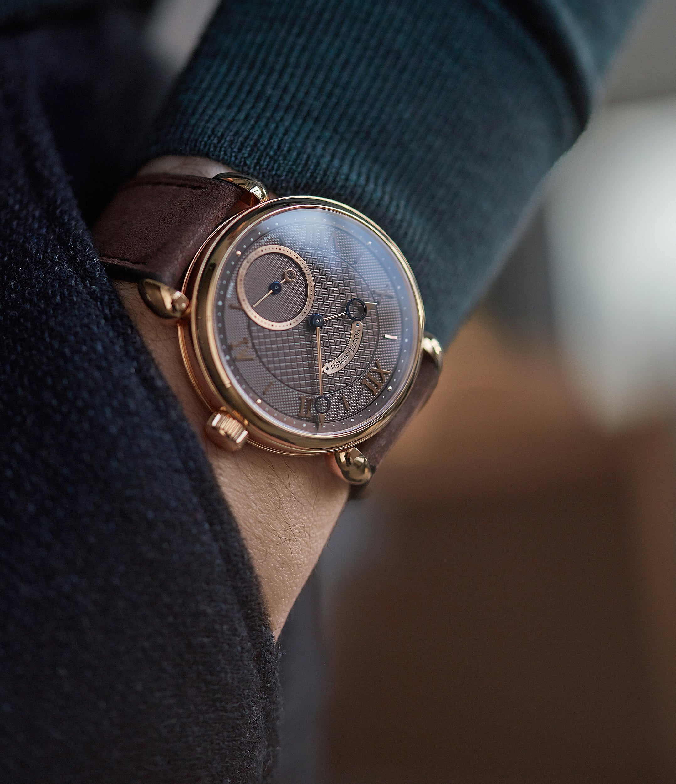 men's luxury wristwatch Voutilainen Vingt-8 Cal. 28 rose gold dress watch with brown guilloche dial for sale at A Collected Man London approved re-seller of preowned Voutilainen watches