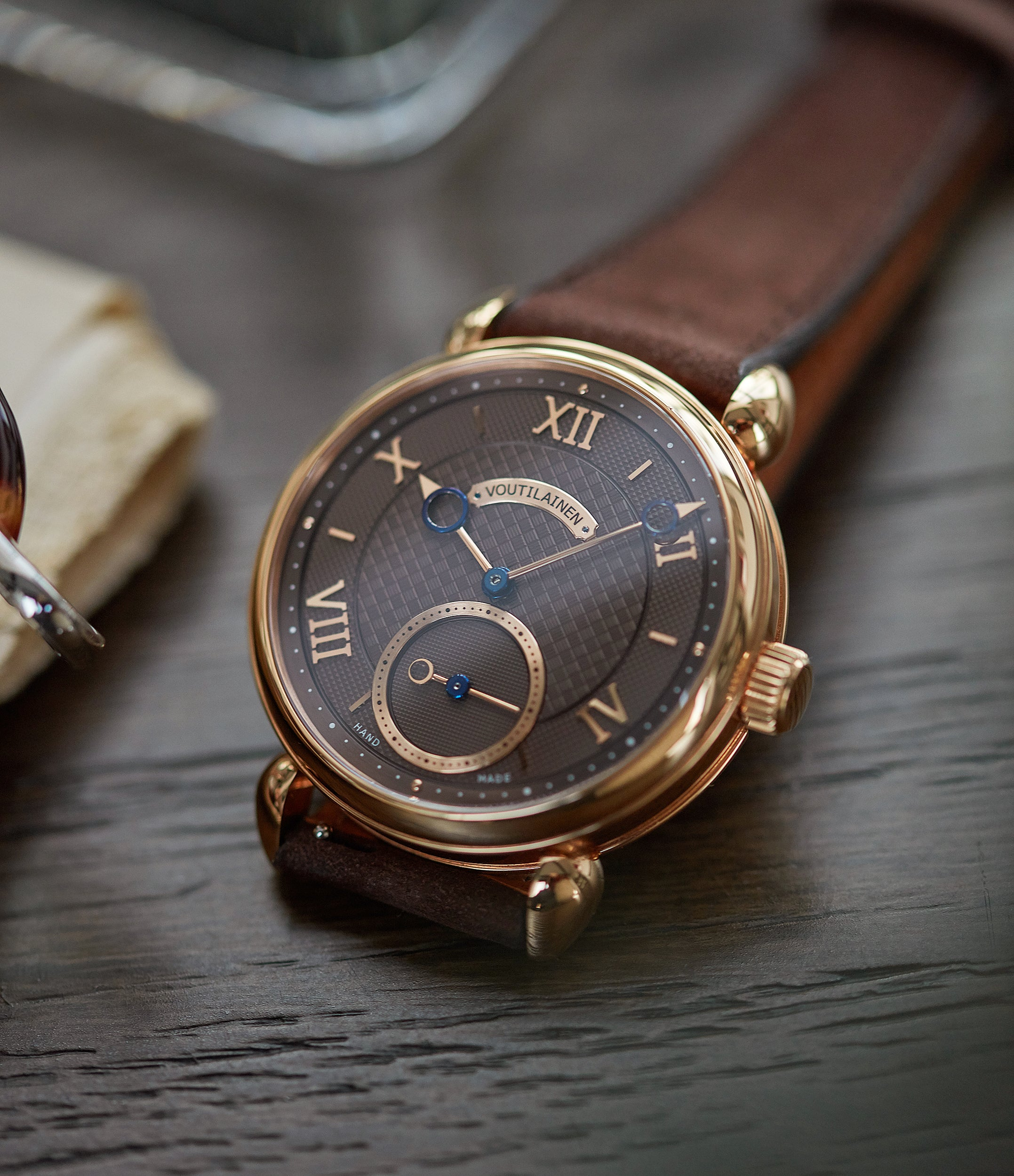 sell Voutilainen Vingt-8 Cal. 28 rose gold dress watch with brown guilloche dial for sale at A Collected Man London approved re-seller of preowned Voutilainen watches