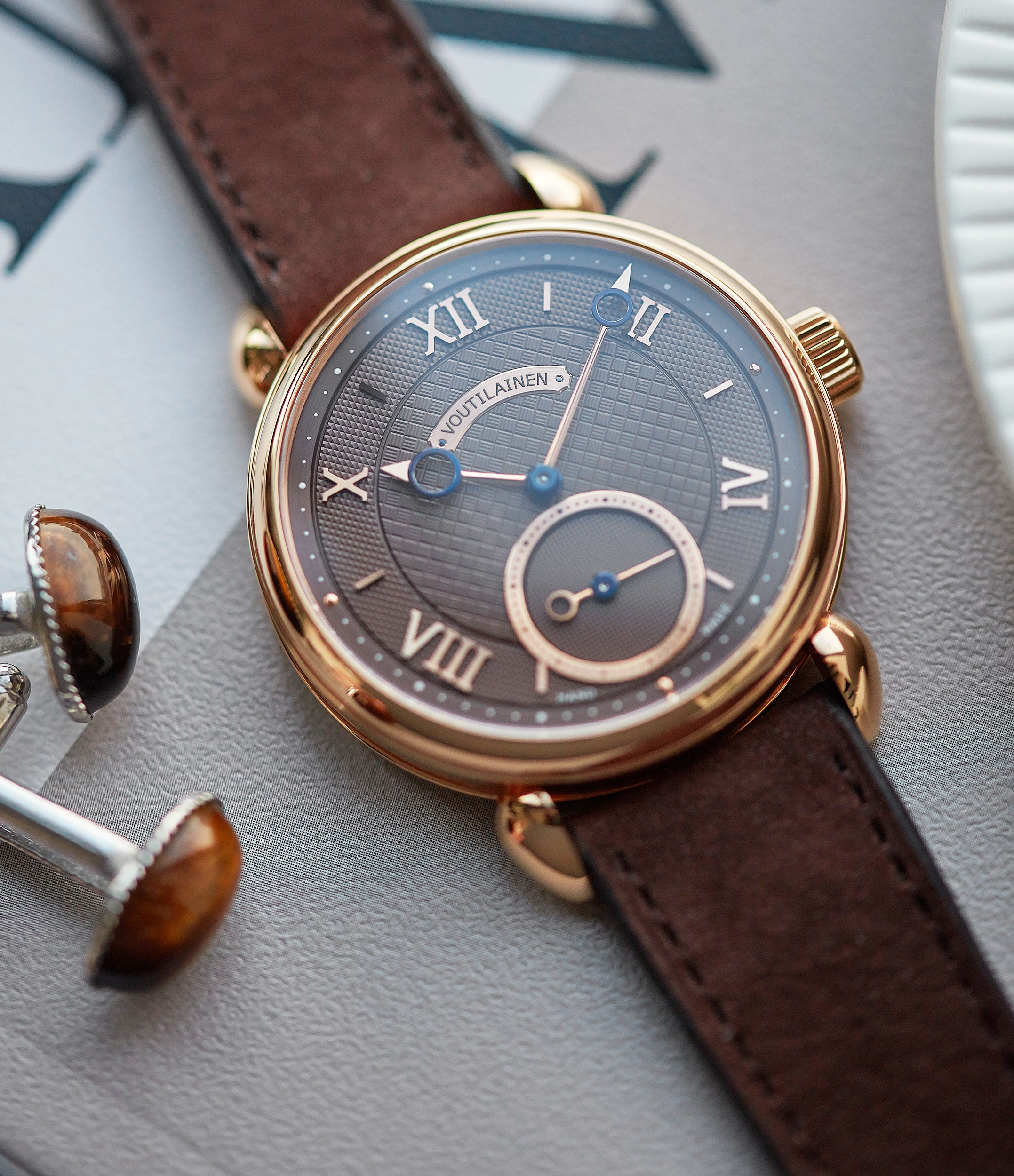 independent watchmaker Voutilainen Vingt-8 Cal. 28 rose gold dress watch with brown guilloche dial for sale at A Collected Man London approved re-seller of preowned Voutilainen watches