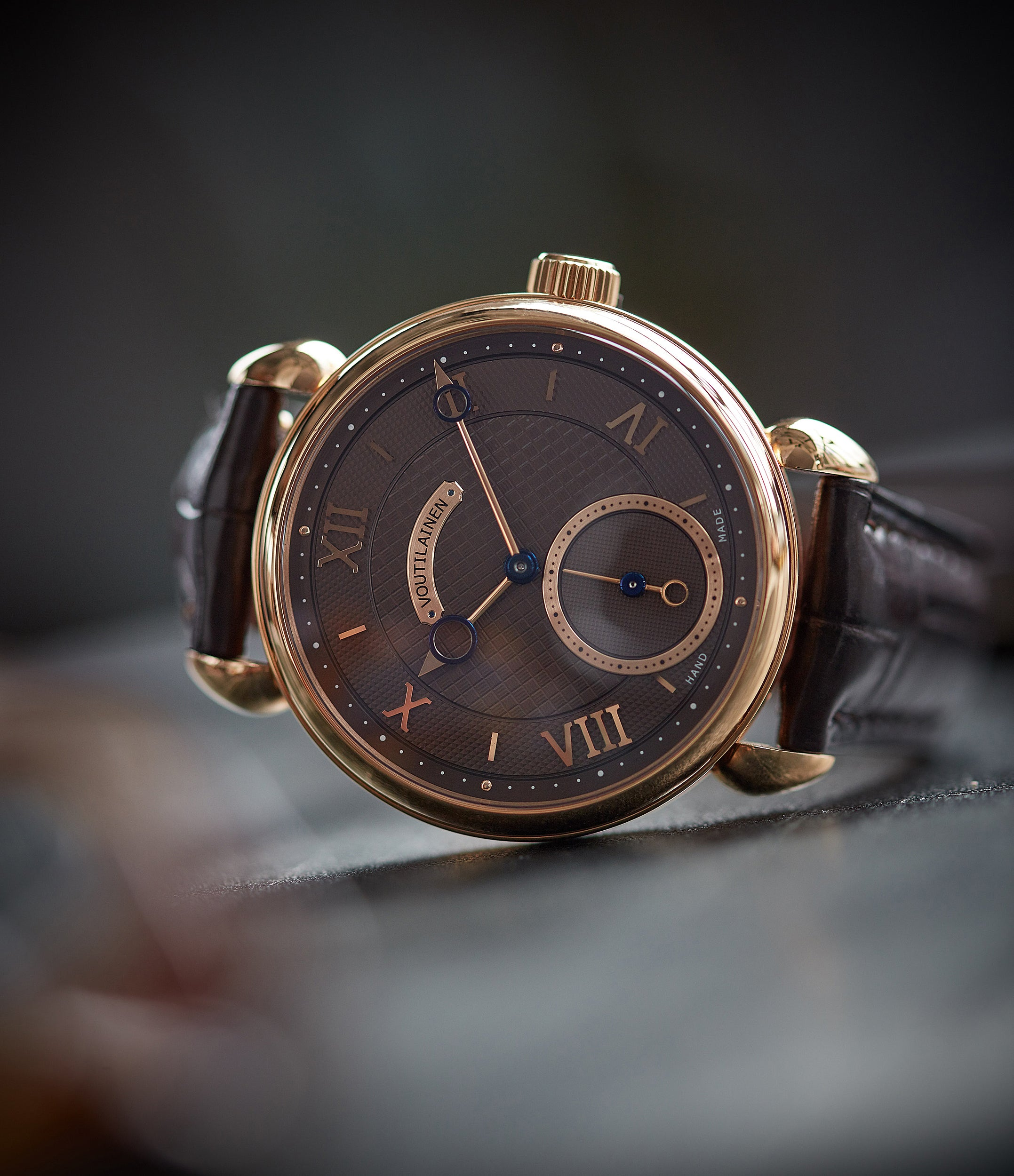collect Voutilainen Vingt-8 Cal. 28 rose gold dress watch with brown guilloche dial for sale at A Collected Man London approved re-seller of preowned Voutilainen watches