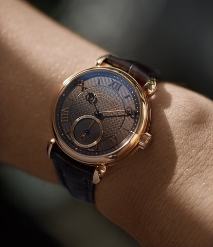 on the wrist Voutilainen Vingt-8 Cal. 28 rose gold dress watch with brown guilloche dial for sale at A Collected Man London approved re-seller of preowned Voutilainen watches