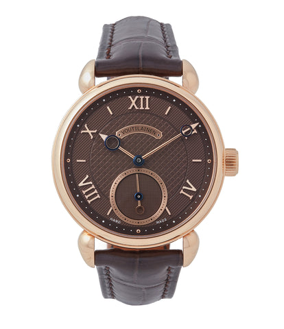buy Kari Voutilainen Vingt-8 Cal. 28 rose gold dress watch with brown guilloche dial for sale at A Collected Man London approved re-seller of preowned Voutilainen watches