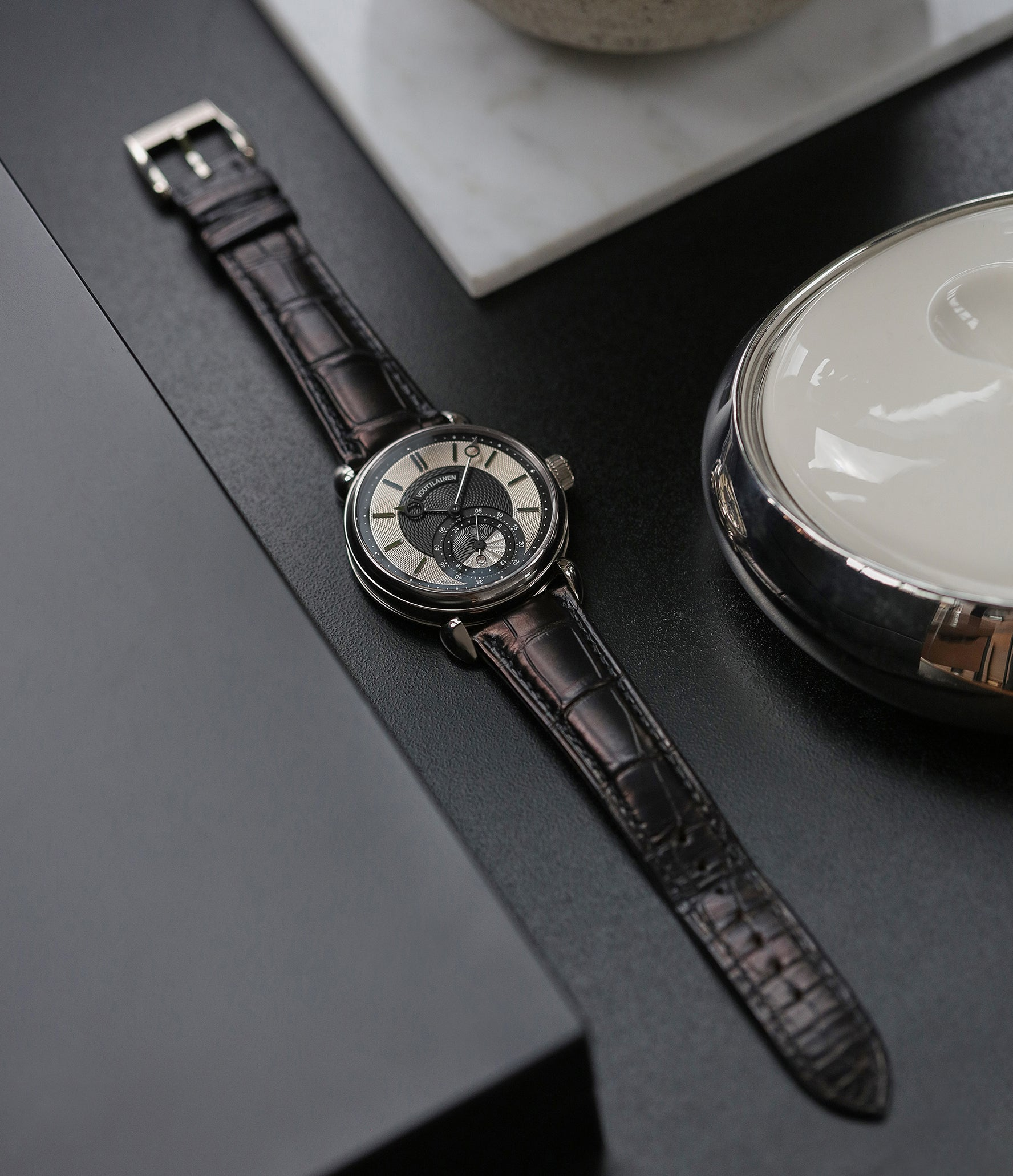 luxury dress watch for sale Kari Voutilainen GMT-6 two-tone dial white gold rare hand-made watch from independent watchmaker for sale online at A Collected Man London UK specialist of rare watches