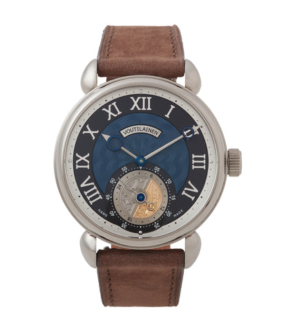 buy Kari Voutilainen GMT-6 blue dial dress watch for sale online at A Collected Man London UK approved re-seller of independent watchmakers