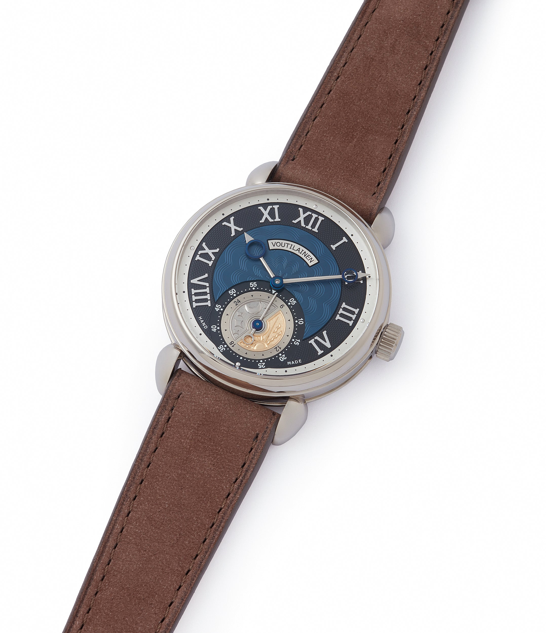 shop Voutilainen GMT-6 white gold blue dial dress watch for sale online at A Collected Man London UK approved re-seller of independent watchmakers