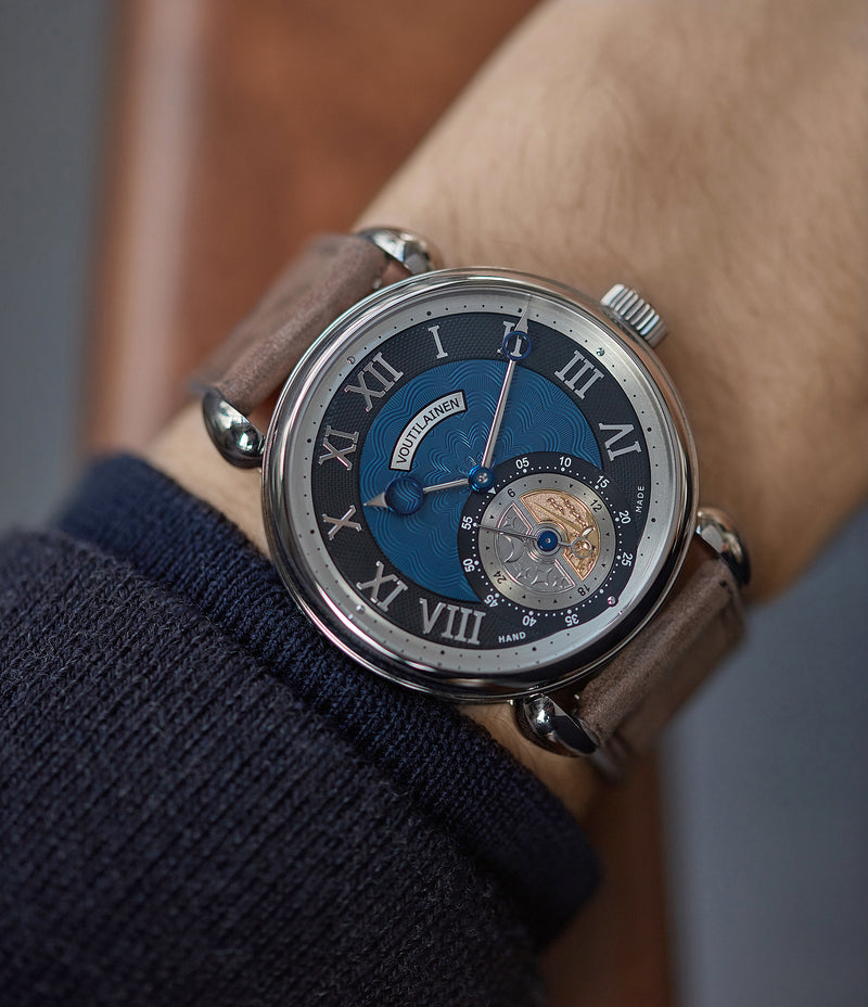 on the wrist Voutilainen GMT-6 blue dial dress watch for sale online at A Collected Man London UK approved re-seller of independent watchmakers