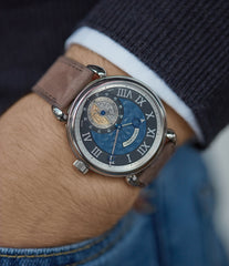 Voutilainen wristwatch GMT-6 blue dial dress watch for sale online at A Collected Man London UK approved re-seller of independent watchmakers