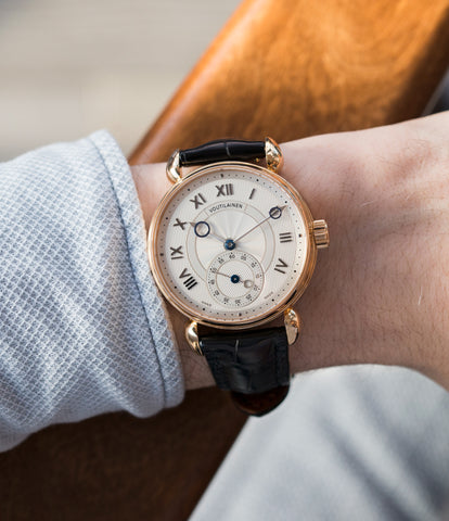 on the wrist Kari Voutilainen Observatoire Limited Edition rose gold rare dress watch for sale online at A Collected Man London endorsed seller of independent watchmaker