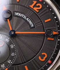 black dial orange numerals Kari Voutilainen Vingt-8 Cal. 28 two substitute dial white gold watch for sale online at a Collected Man online specialist platform for independent watchmakers