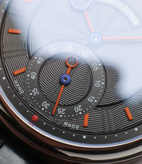black giulloche dial with orange Kari Voutilainen Vingt-8 Cal. 28 two substitute dial white gold watch for sale online at a Collected Man online specialist platform for independent watchmakers
