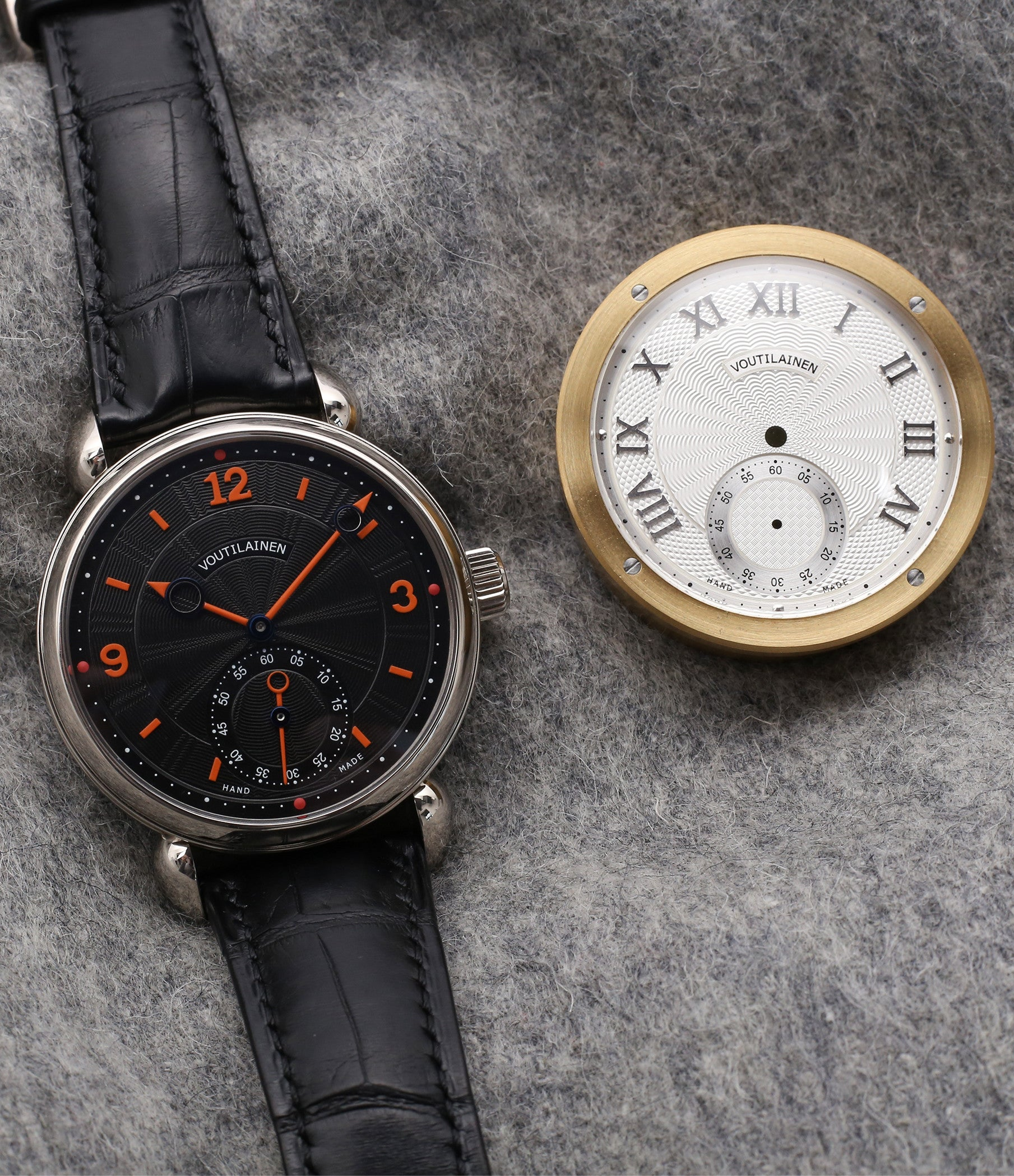 Kari Voutilainen Vingt-8 Cal. 28 with two dials for sale online at A Collected Man London