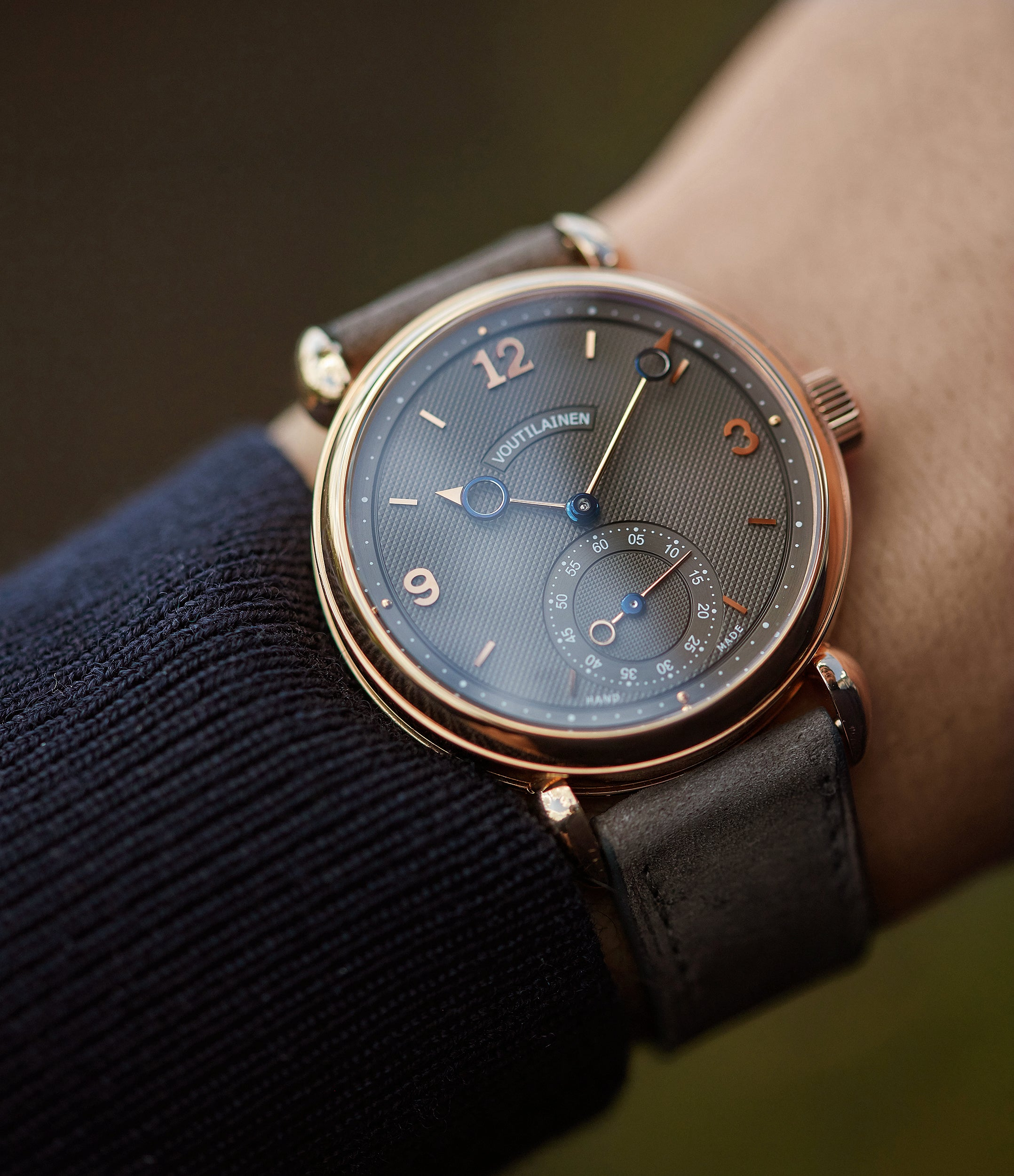 buying Voutilainen Vingt-8 grey dial rose gold time-only watch independent watchmaker for sale online A Collected Man London UK specialist rare watches
