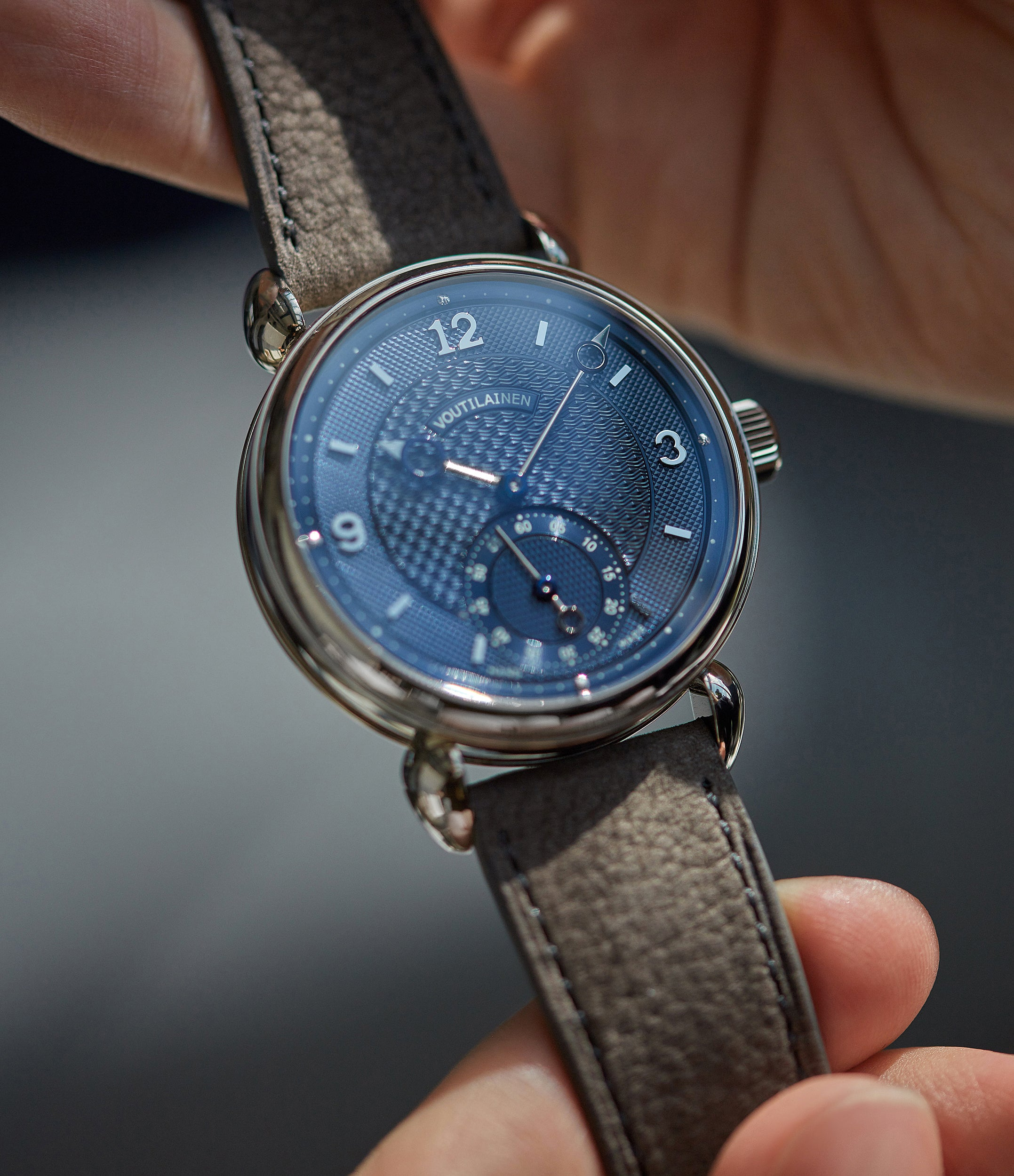 Voutilainen Vingt-8 Cal. 28 blue dial dress watch at A Collected Man London approved re-seller of independent watchmakers