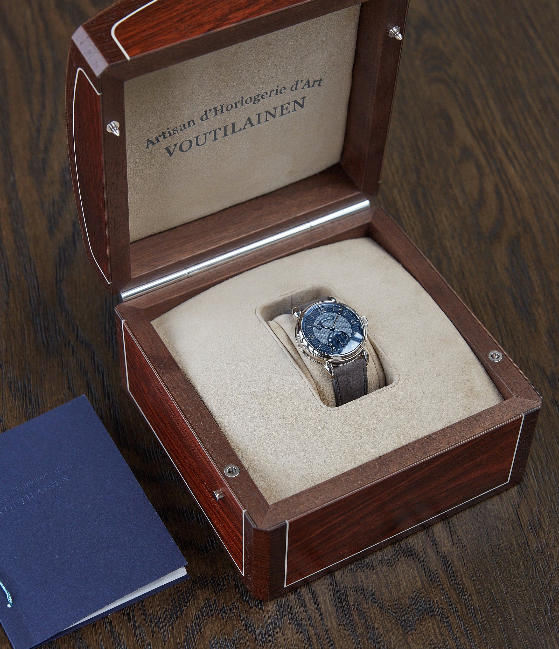 rare Voutilainen Vingt-8 Cal. 28 blue dial white gold dress watch at A Collected Man London approved re-seller of independent watchmakers