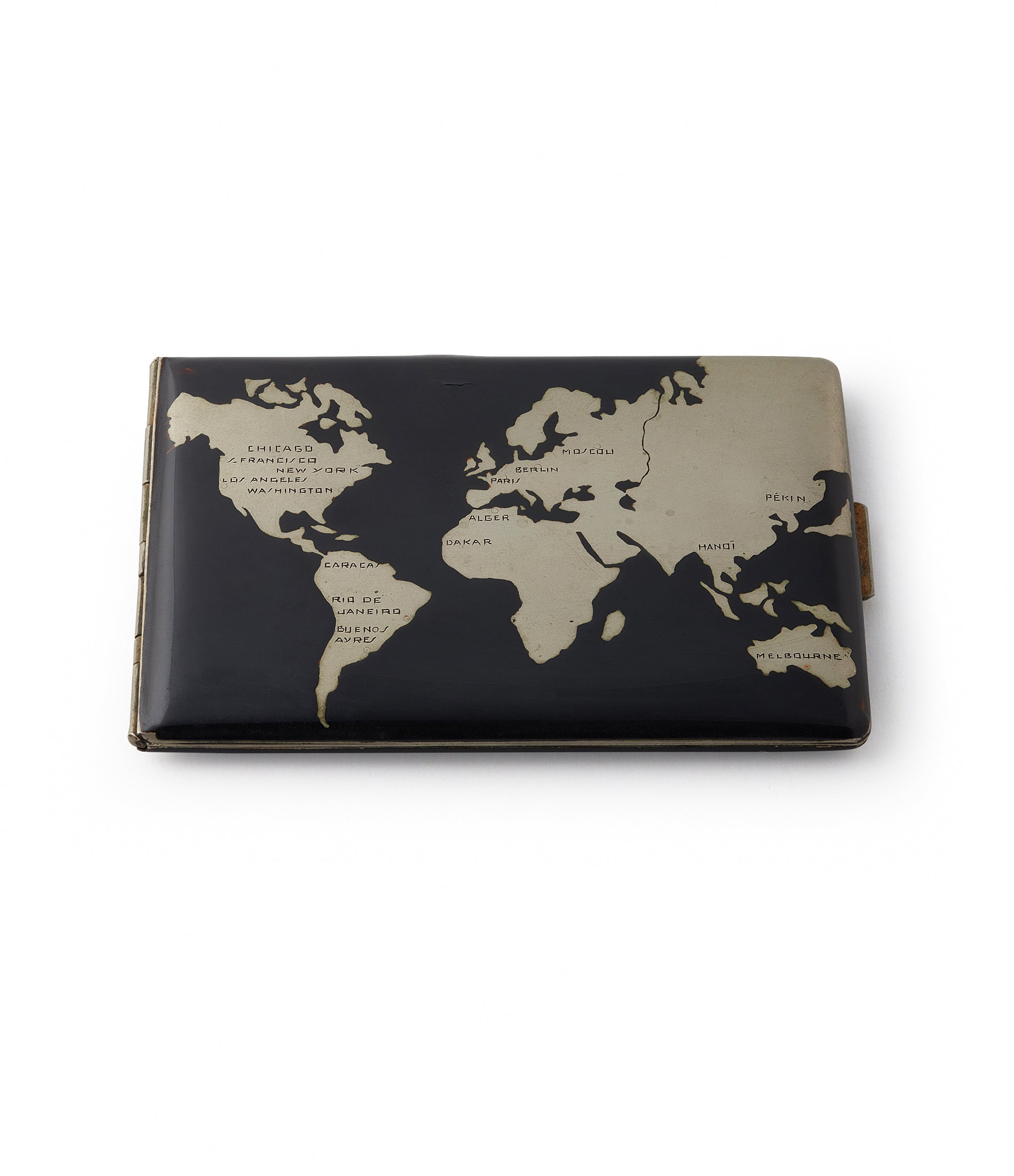 Vintage World Map Cigarette Case | Lacquered