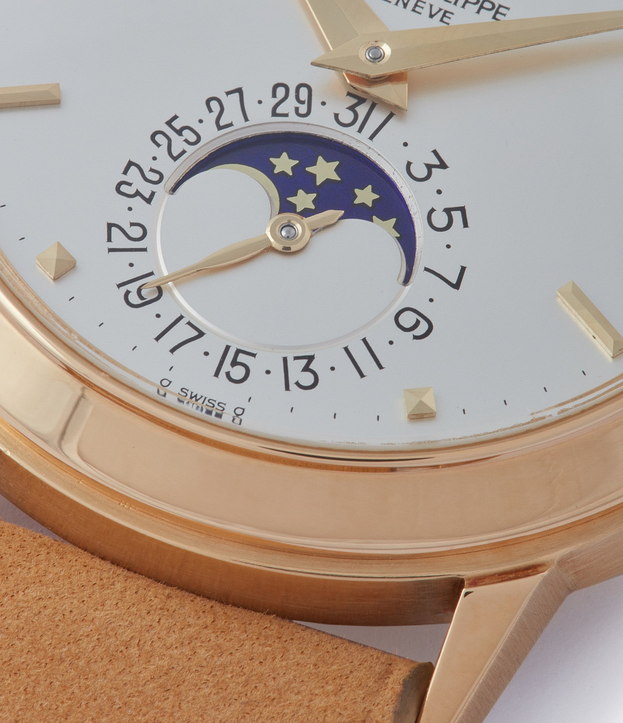 moonphase Patek Philippe 3448 Perpetual Calendar Moonphase yellow gold dress watch for sale online at A Collected Man London UK specialist of rare watches
