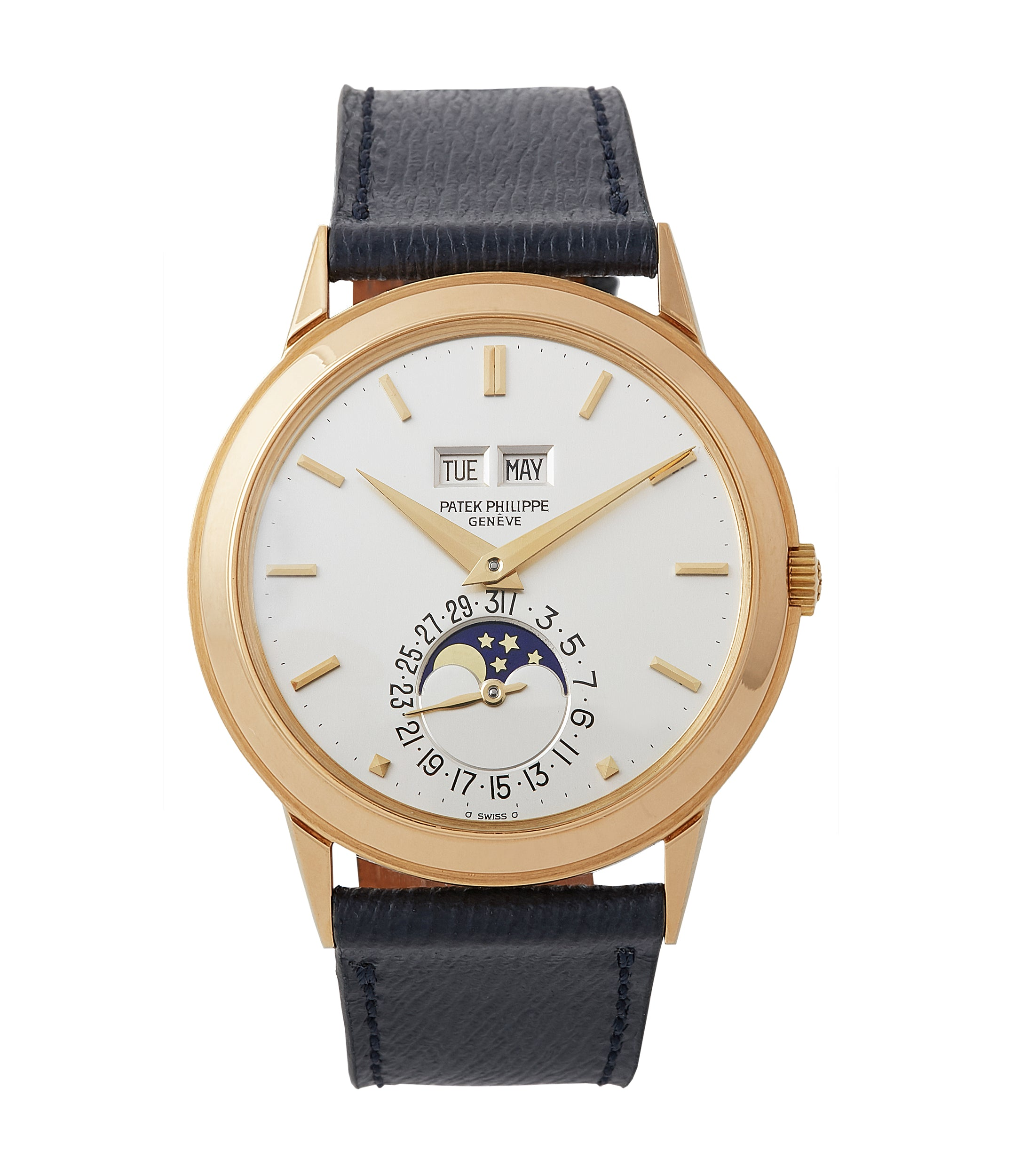 buy vintage Patek Philippe 3448 Perpetual Calendar Moonphase yellow gold dress watch for sale online at A Collected Man London UK specialist of rare watches