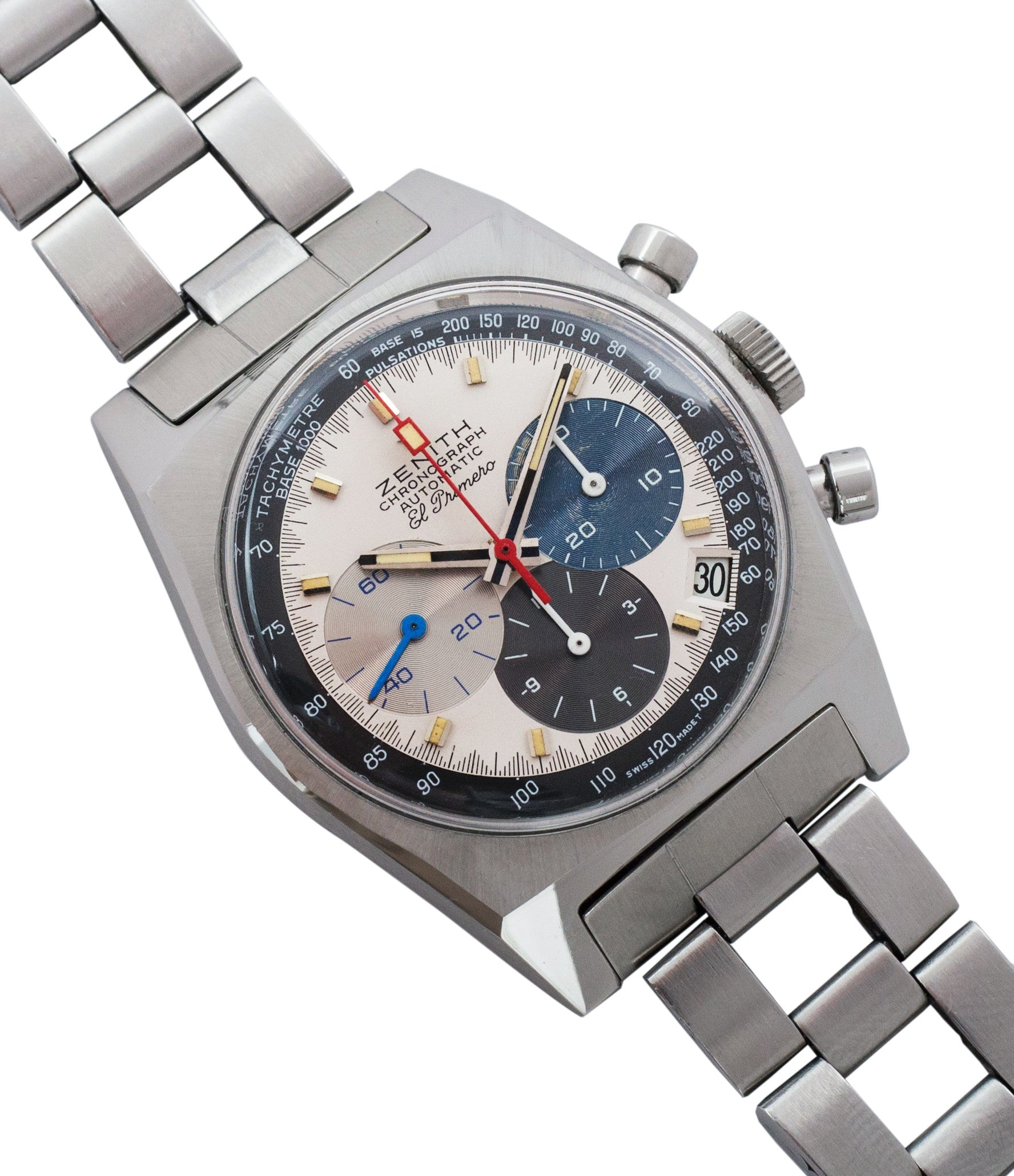 buy Zenith El Primero A3817 steel automatic chronograph vintage watch for sale online at A Collected Man vintage rare watch specialist