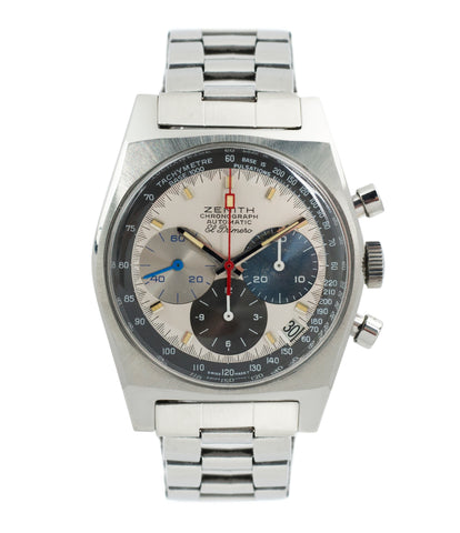 buy vintage Zenith El Primero A3817 steel automatic chronograph watch for sale online at A Collected Man vintage rare watch specialist