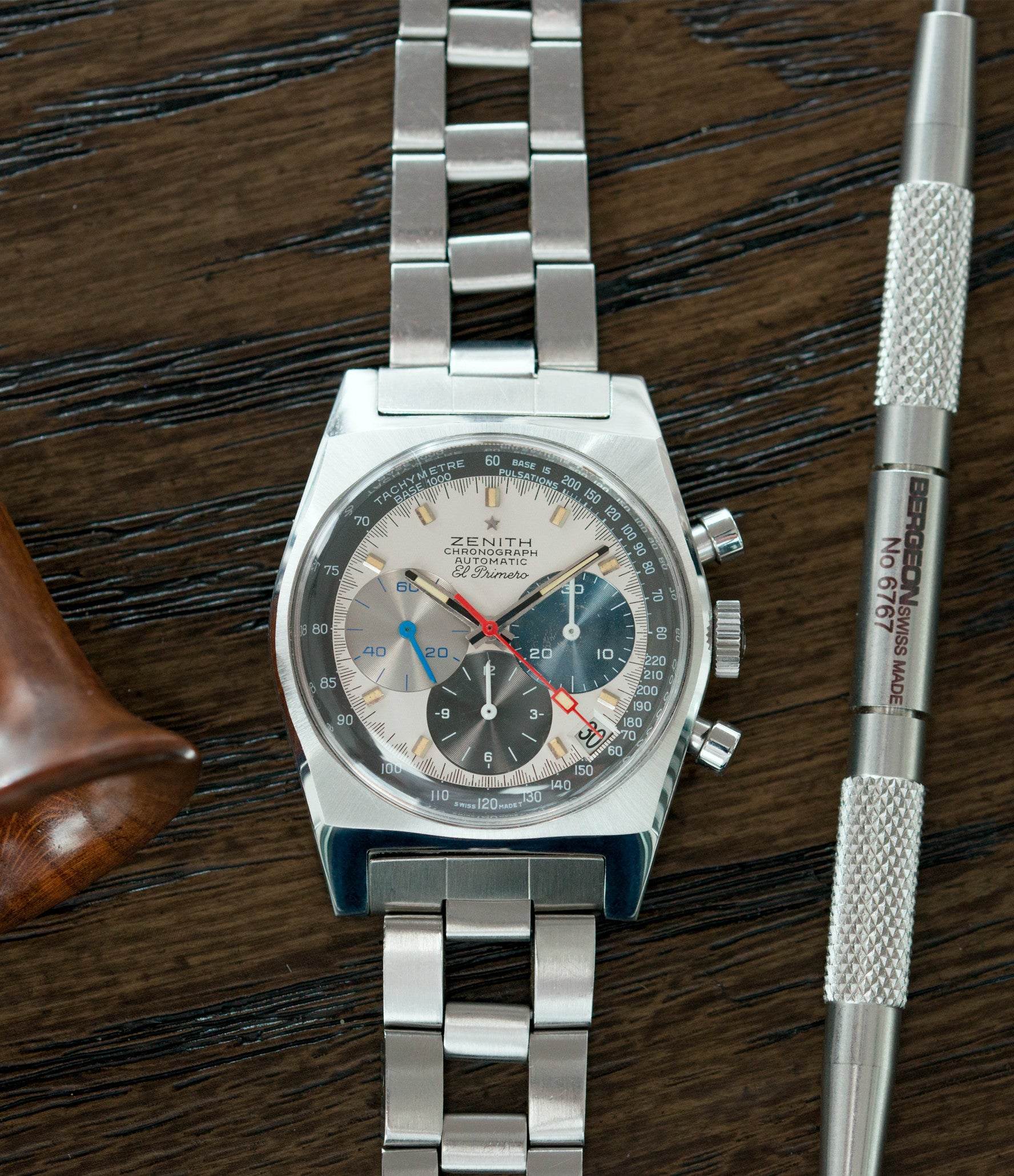 selling vintage Zenith El Primero A3817 steel automatic chronograph watch for sale online at A Collected Man vintage rare watch specialist