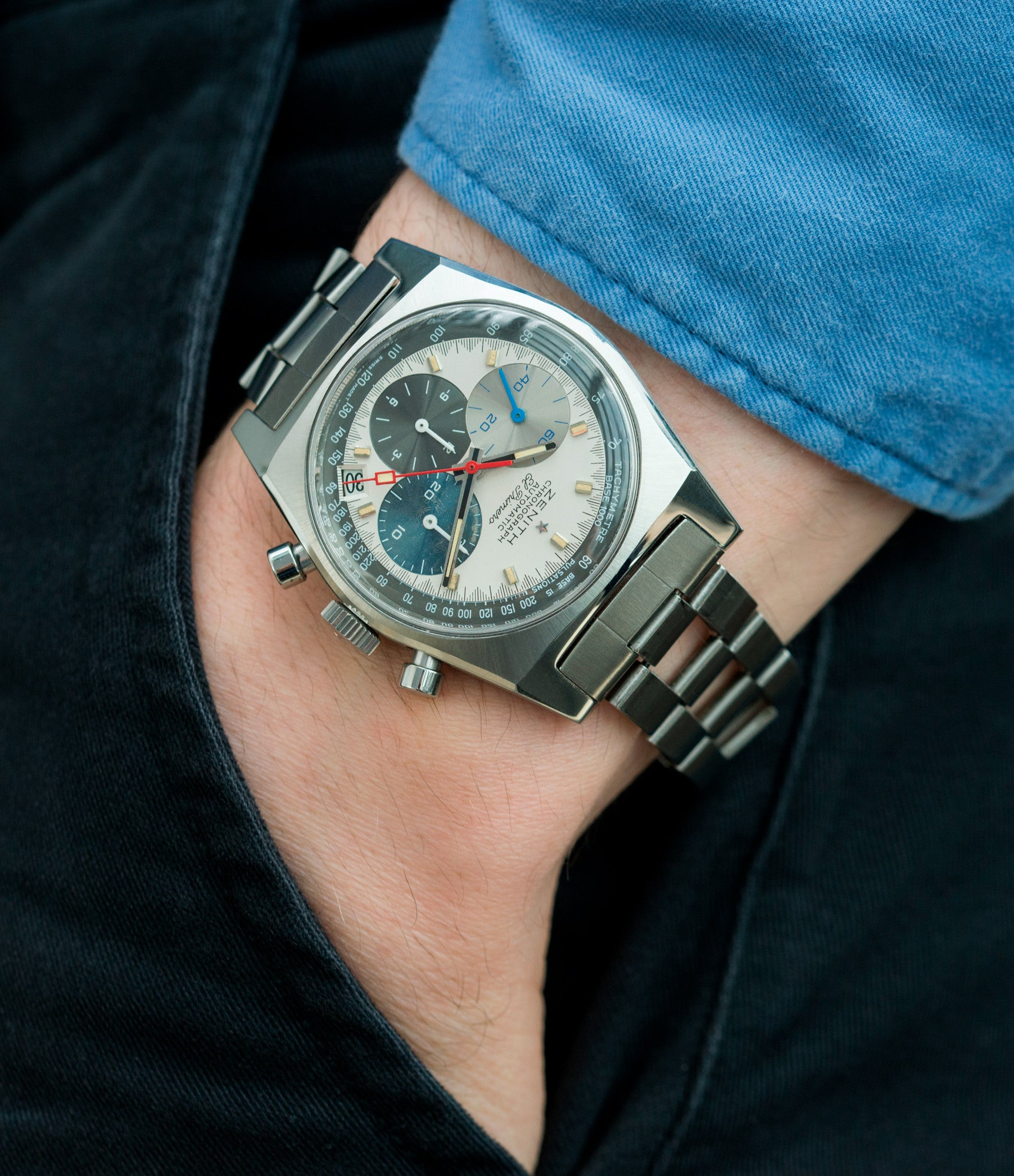on the wrist vintage Zenith El Primero A3817 steel automatic chronograph watch for sale online at A Collected Man vintage rare watch specialist