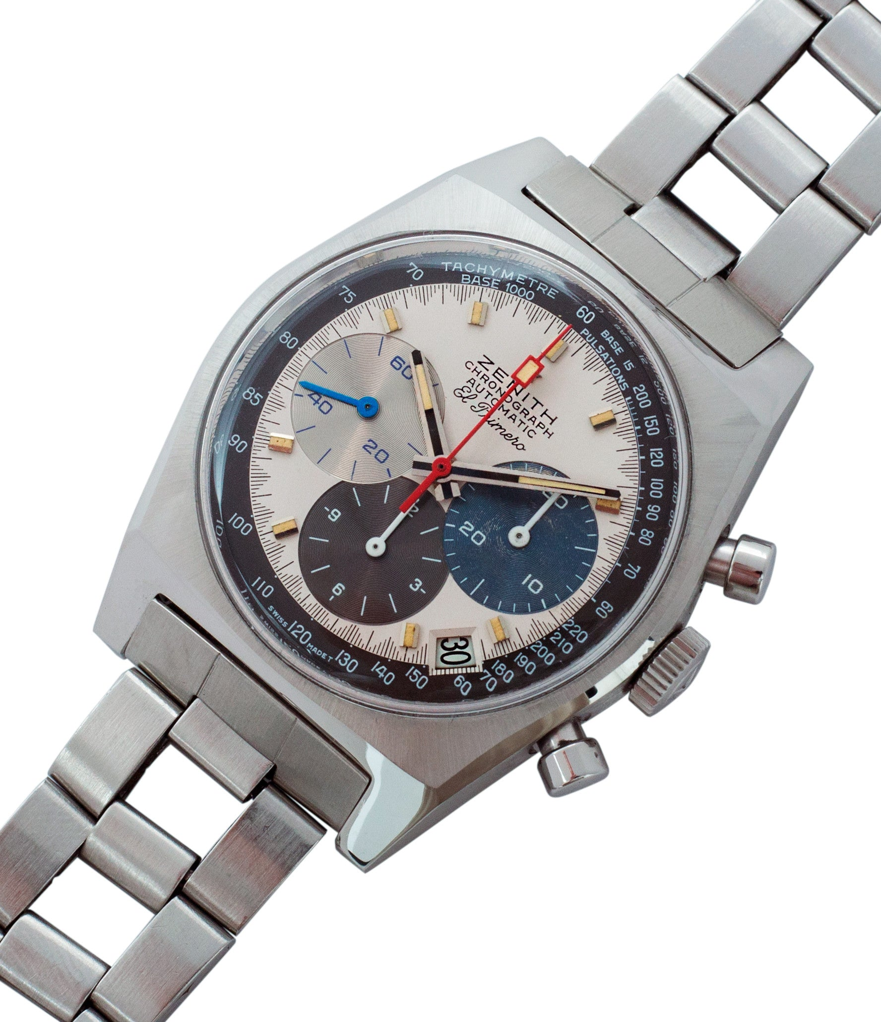 for sale Zenith El Primero A3817 steel automatic chronograph vintage watch for sale online at A Collected Man vintage rare watch specialist