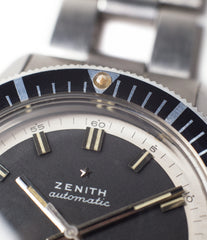 original lume bezel buy vintage sports watch Zenith A3630 divers steel online at A Collected Man