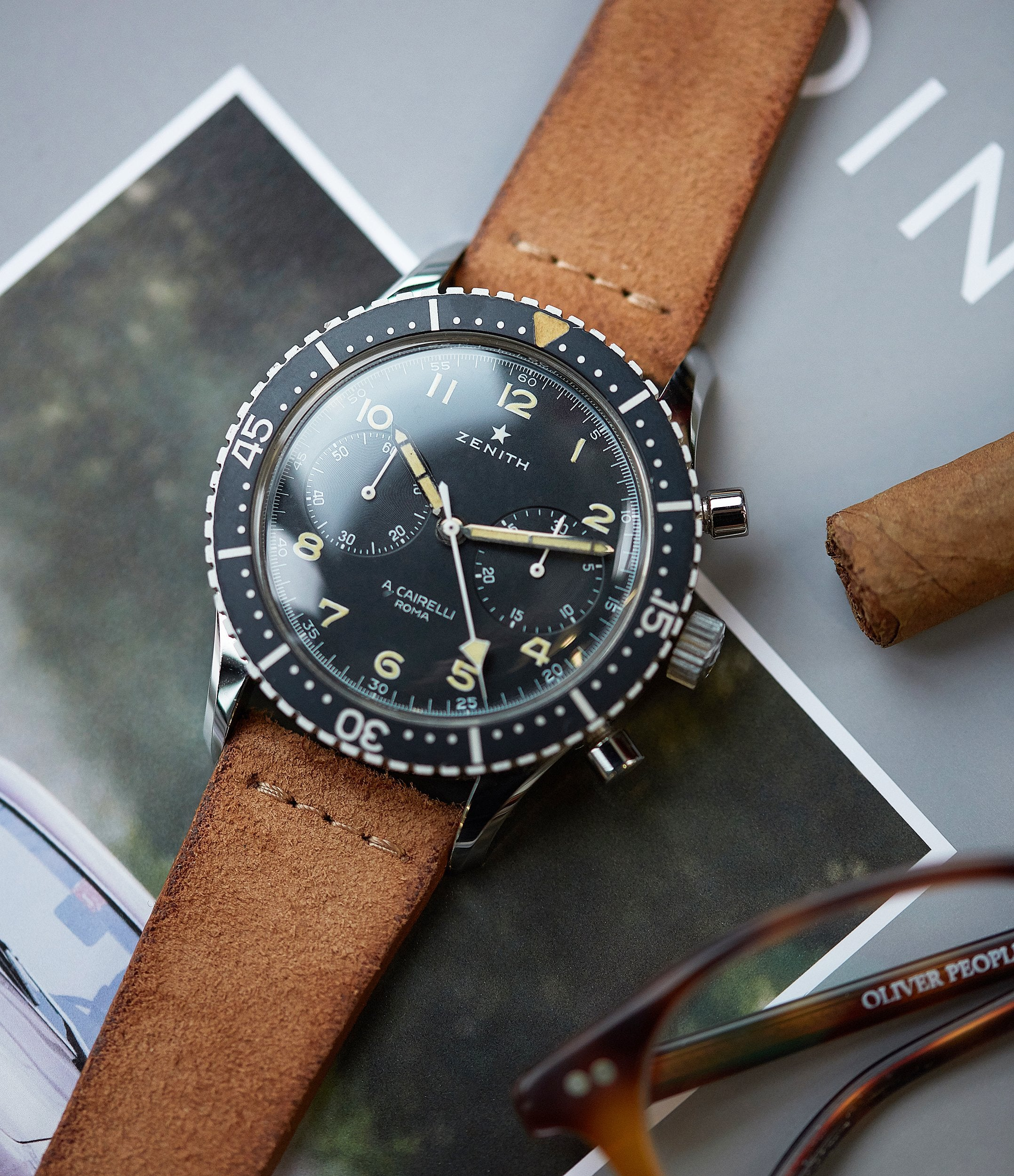 shop vintage Cibilina-issue Zenith Cairelli CP-2 steel vintage military chronograph sports watch for sale online A Collected Man London home of rare watches
