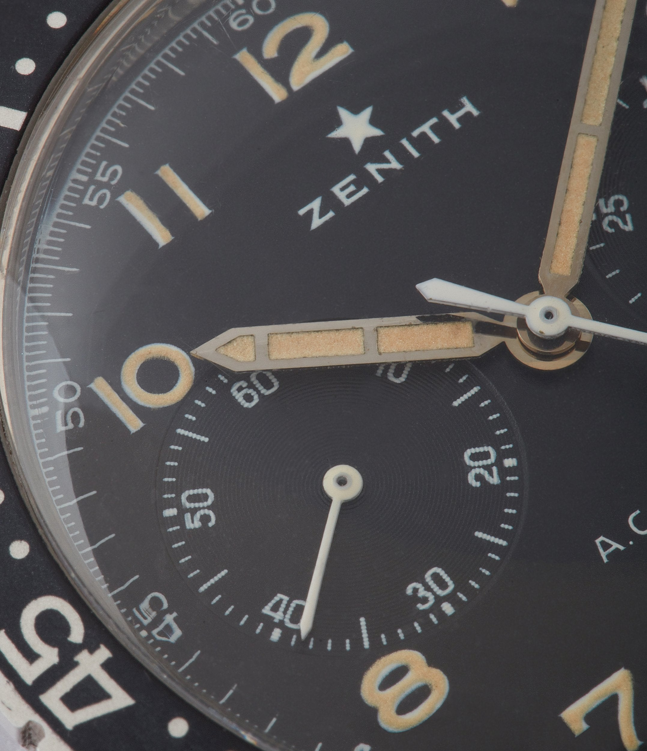 unrestored black dial Zenith Cairelli CP-2 steel vintage military chronograph sports watch for sale online A Collected Man London home of rare watches