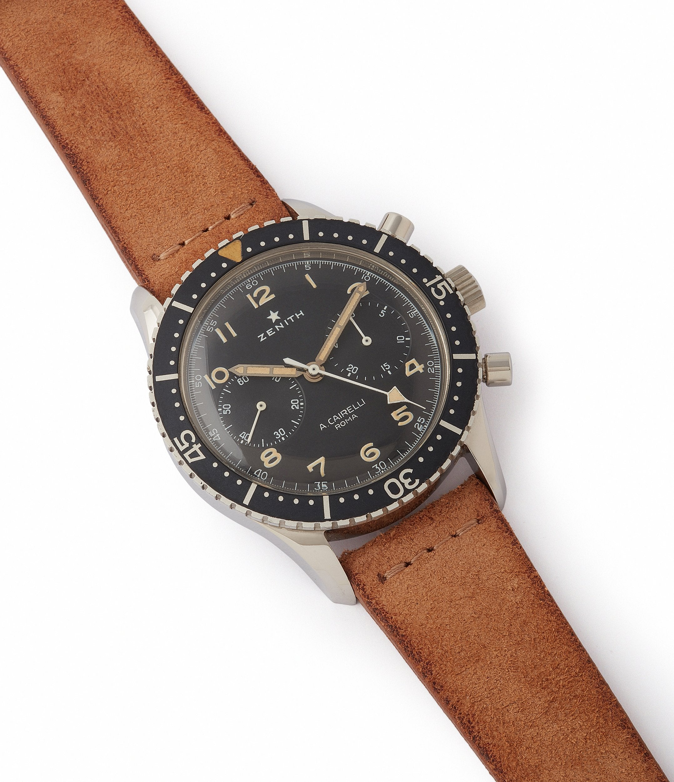 buy vintage Zenith Cairelli CP-2 steel military chronograph sports watch for sale online A Collected Man London home of rare watches