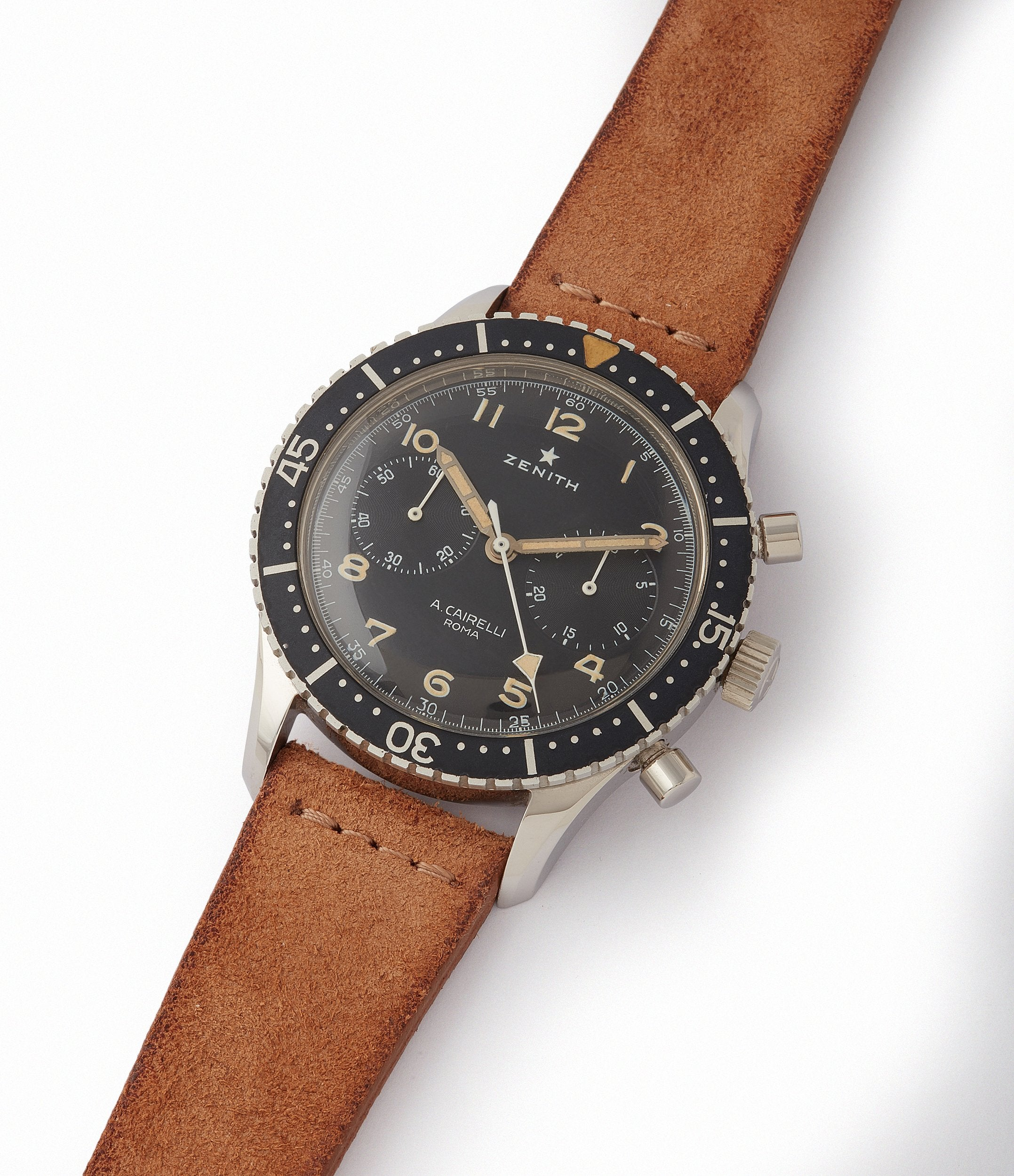 collect rare vintage Zenith Cairelli CP-2 steel military chronograph sports watch for sale online A Collected Man London home of rare watches