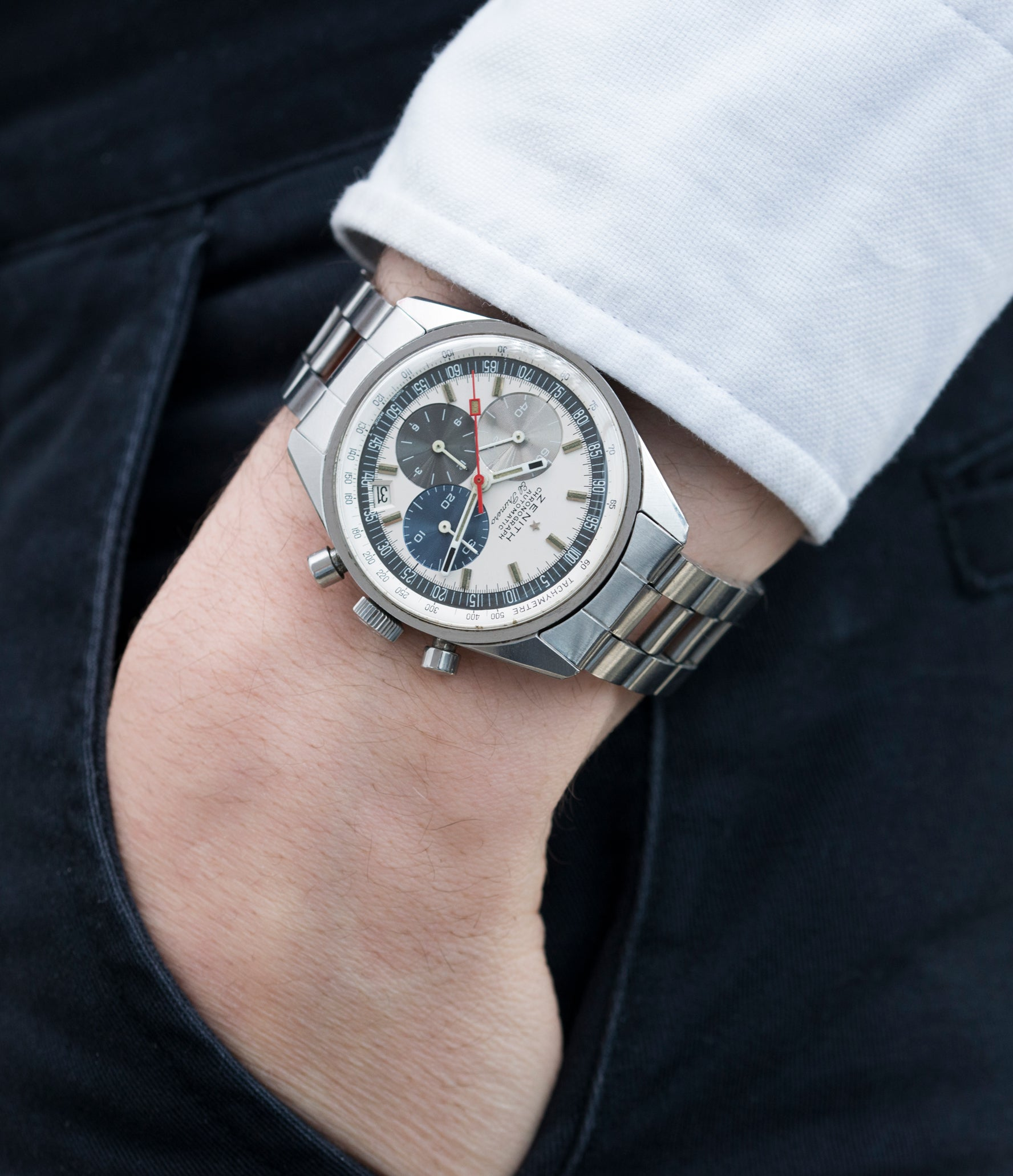 collect rare vintage watches Zenith El Primero A386 one of the first automatic chronographs for sale at A Collected Man London