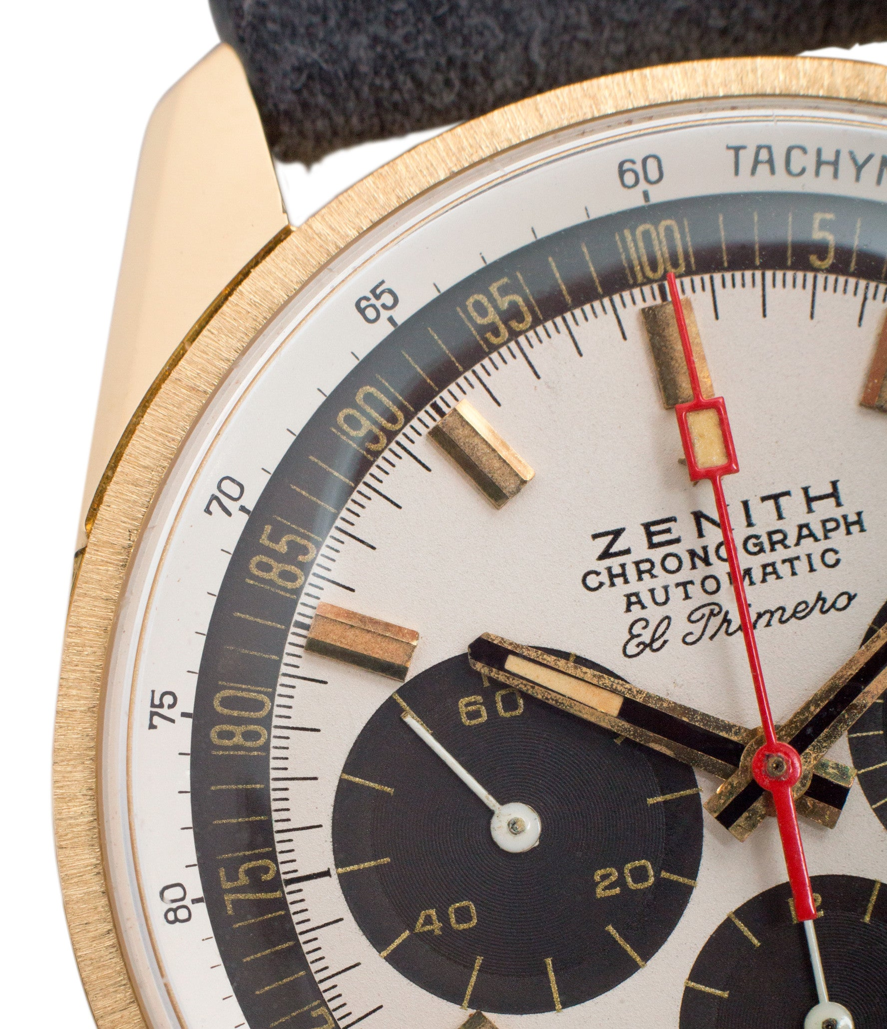 first automatic chronograph Zenith El Primero G381 rare yellow gold vintage chronograph date watch for sale online at A Collected Man London vintage watch specialist