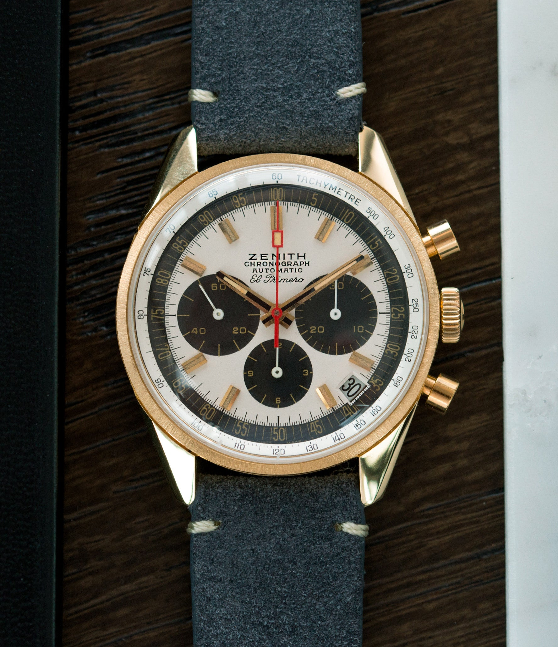 Zenith El Primero G381 rare yellow gold vintage chronograph date watch for sale online at A Collected Man London vintage watch specialist