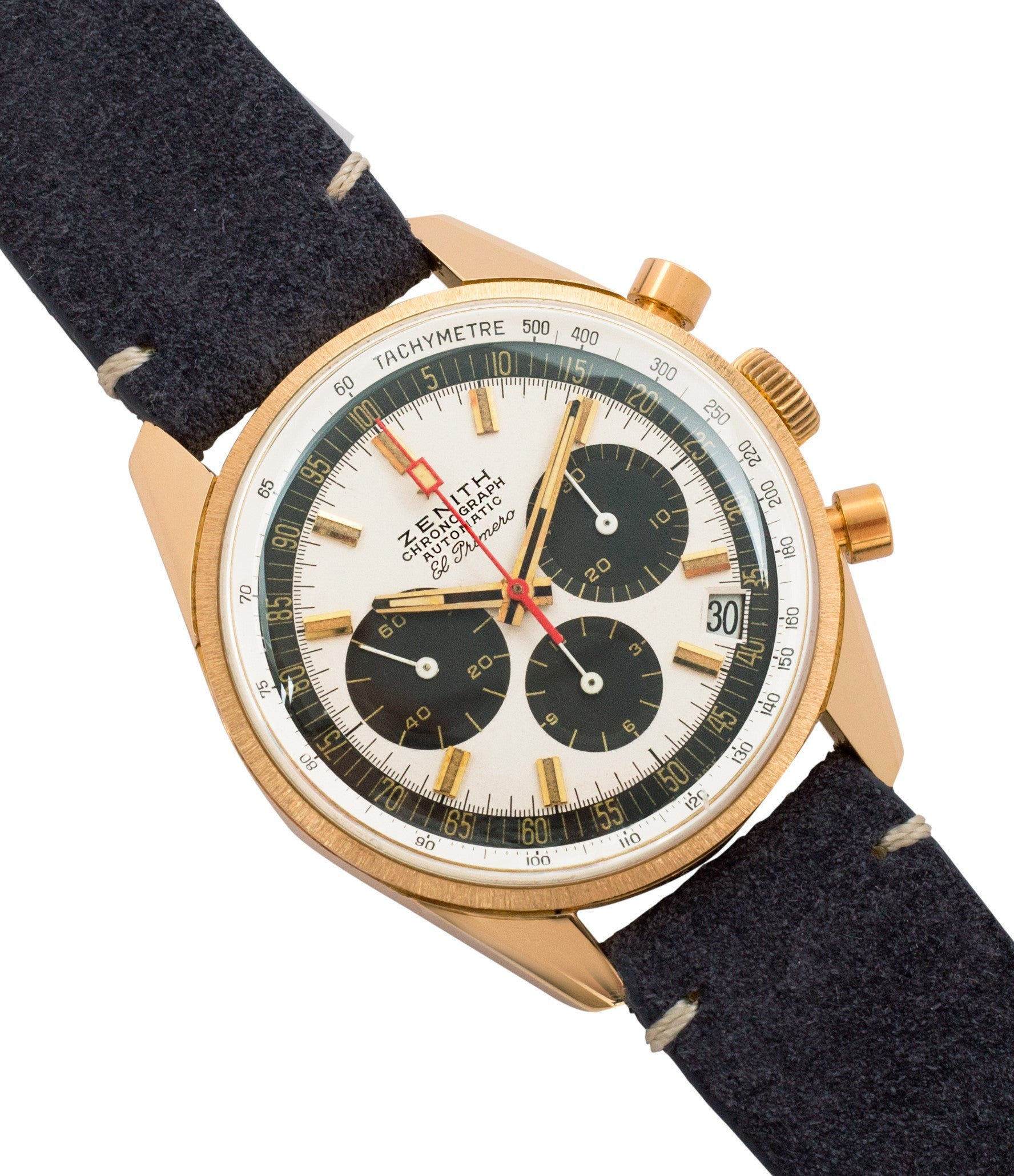 buy Zenith El Primero G381 rare yellow gold vintage chronograph date watch for sale online at A Collected Man London vintage watch specialist