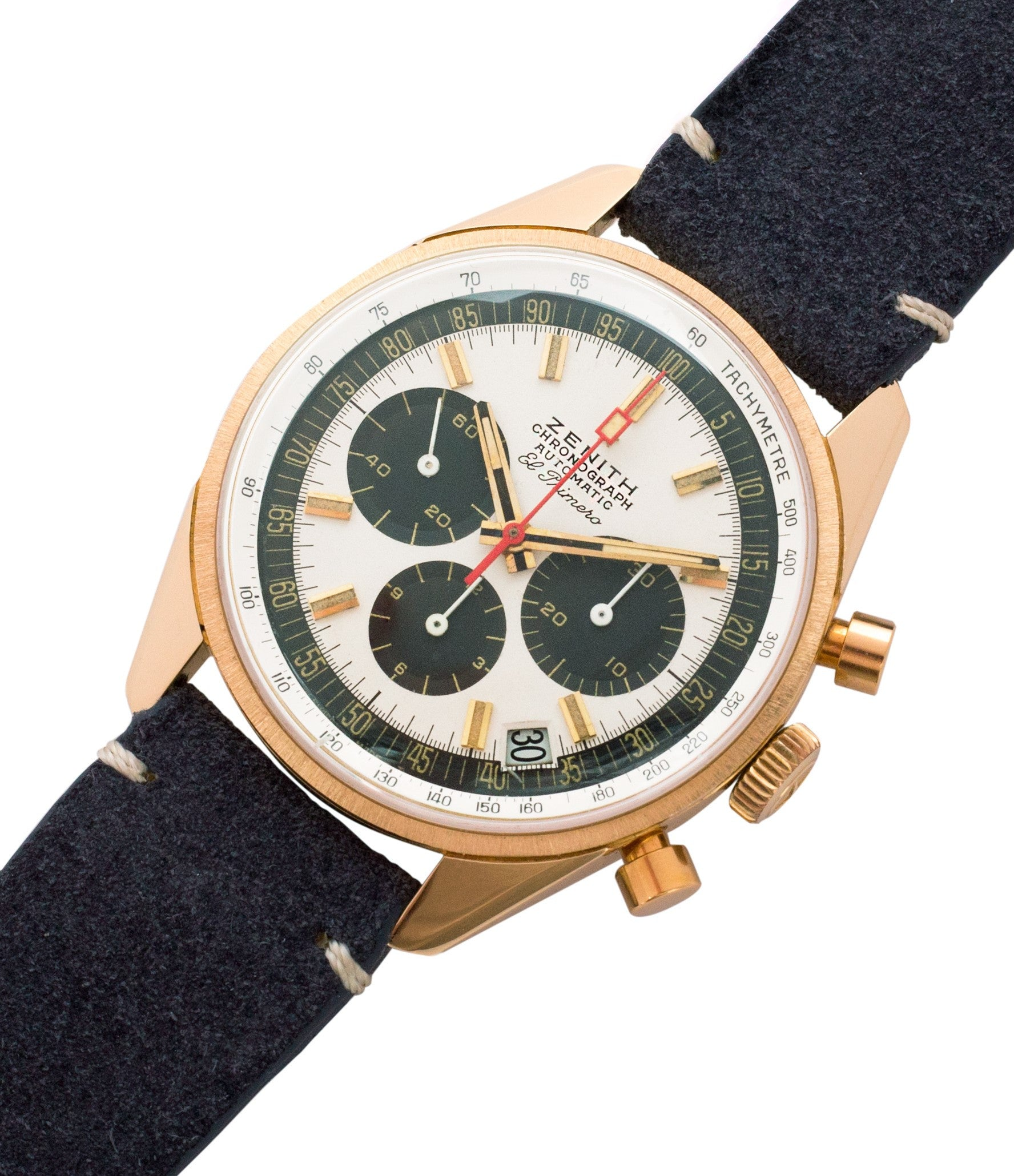 buy yellow gold Zenith El Primero G381 rare vintage chronograph date watch for sale online at A Collected Man London vintage watch specialist
