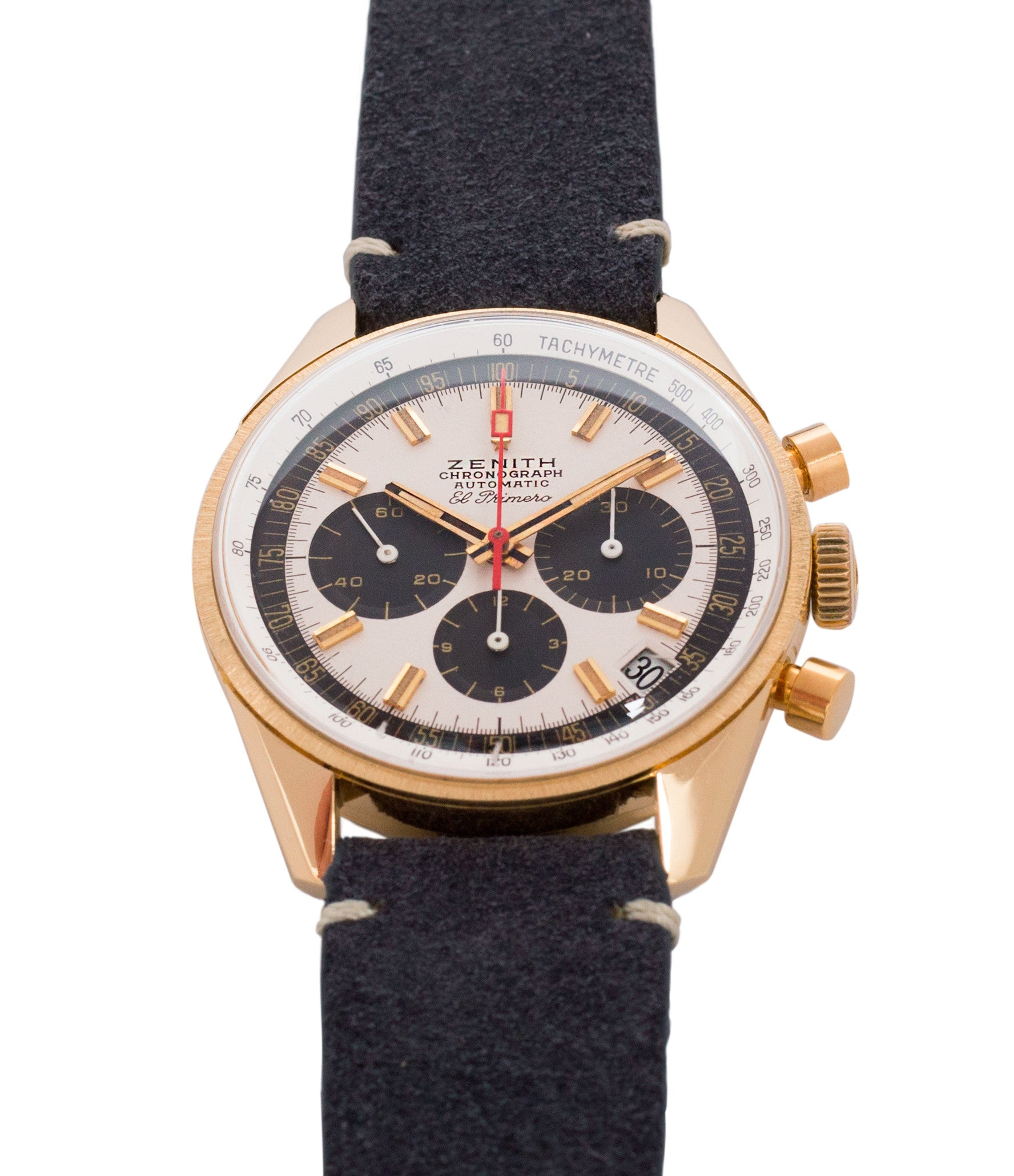 silver dial black subs Zenith El Primero G381 rare yellow gold vintage chronograph date watch for sale online at A Collected Man London vintage watch specialist