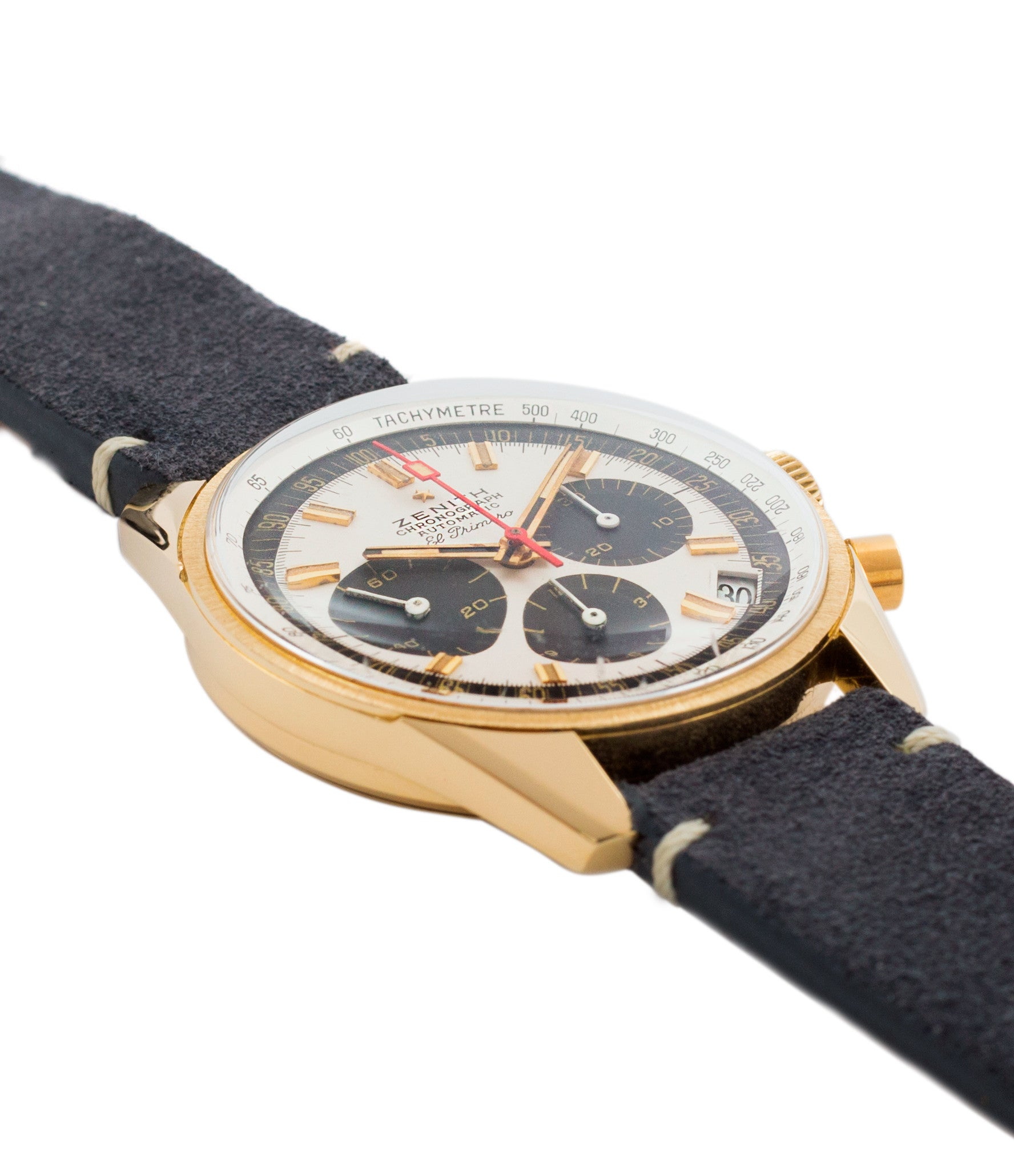 for sale Zenith El Primero G381 rare yellow gold vintage chronograph date watch for sale online at A Collected Man London vintage watch specialist