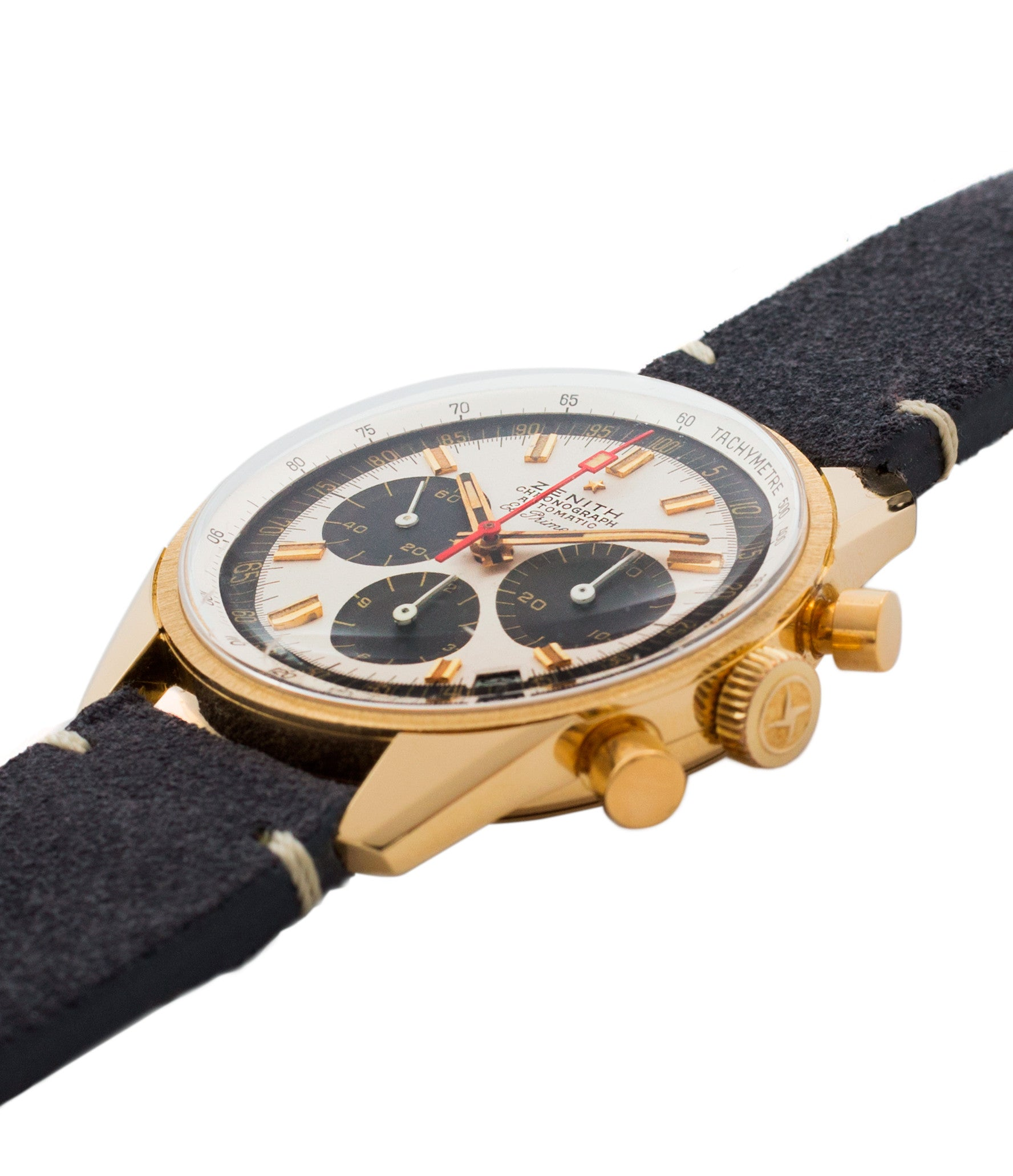 selling Zenith El Primero G381 rare yellow gold vintage chronograph date watch for sale online at A Collected Man London vintage watch specialist
