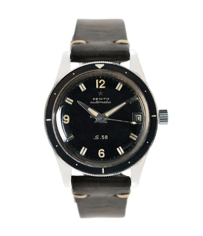buy Zenith S.58 Cal 2542 PC vintage steel divers watch bakelite bezel for sale online at A Collected Man London UK specialist rare vintage watches