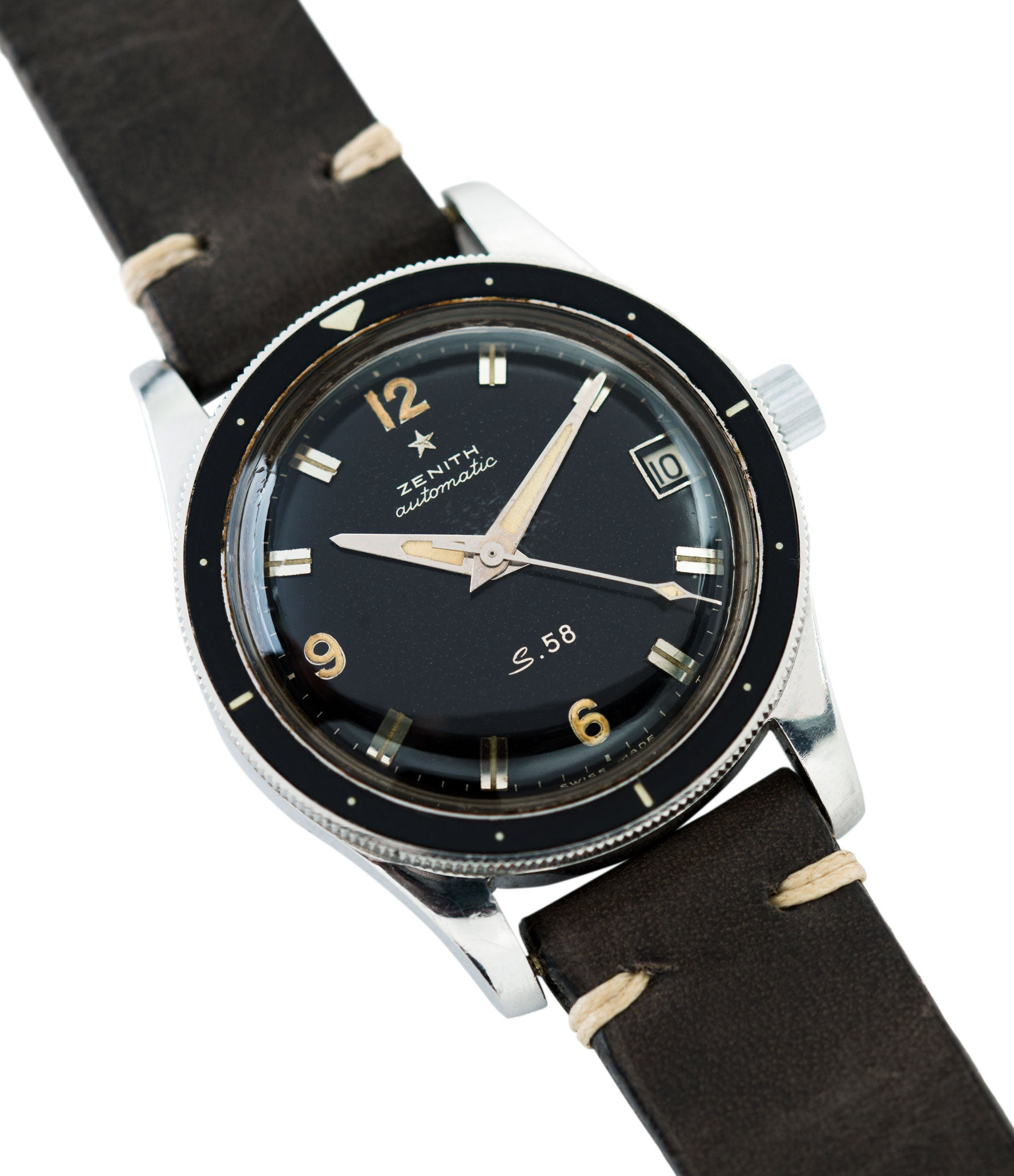 sell Zenith S.58 Cal 2542 PC vintage steel divers watch bakelite bezel for sale online at A Collected Man London UK specialist rare vintage watches