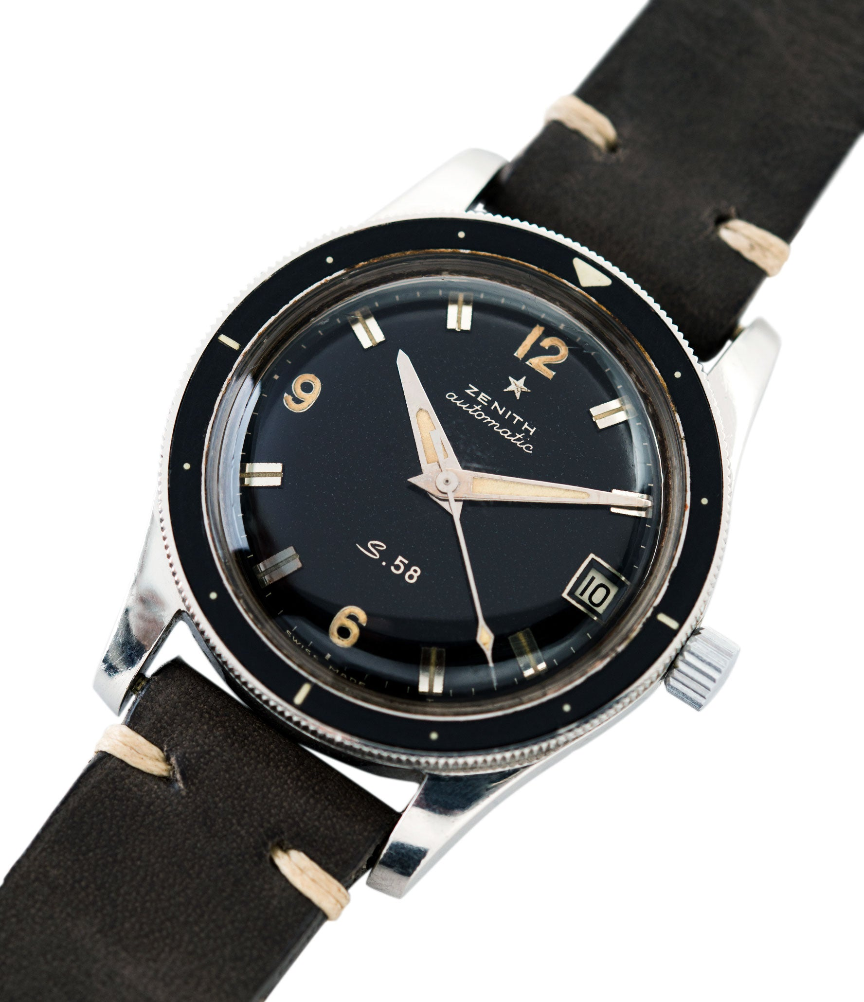 for sale Zenith S.58 Cal 2542 PC vintage steel divers watch bakelite bezel for sale online at A Collected Man London UK specialist rare vintage watches