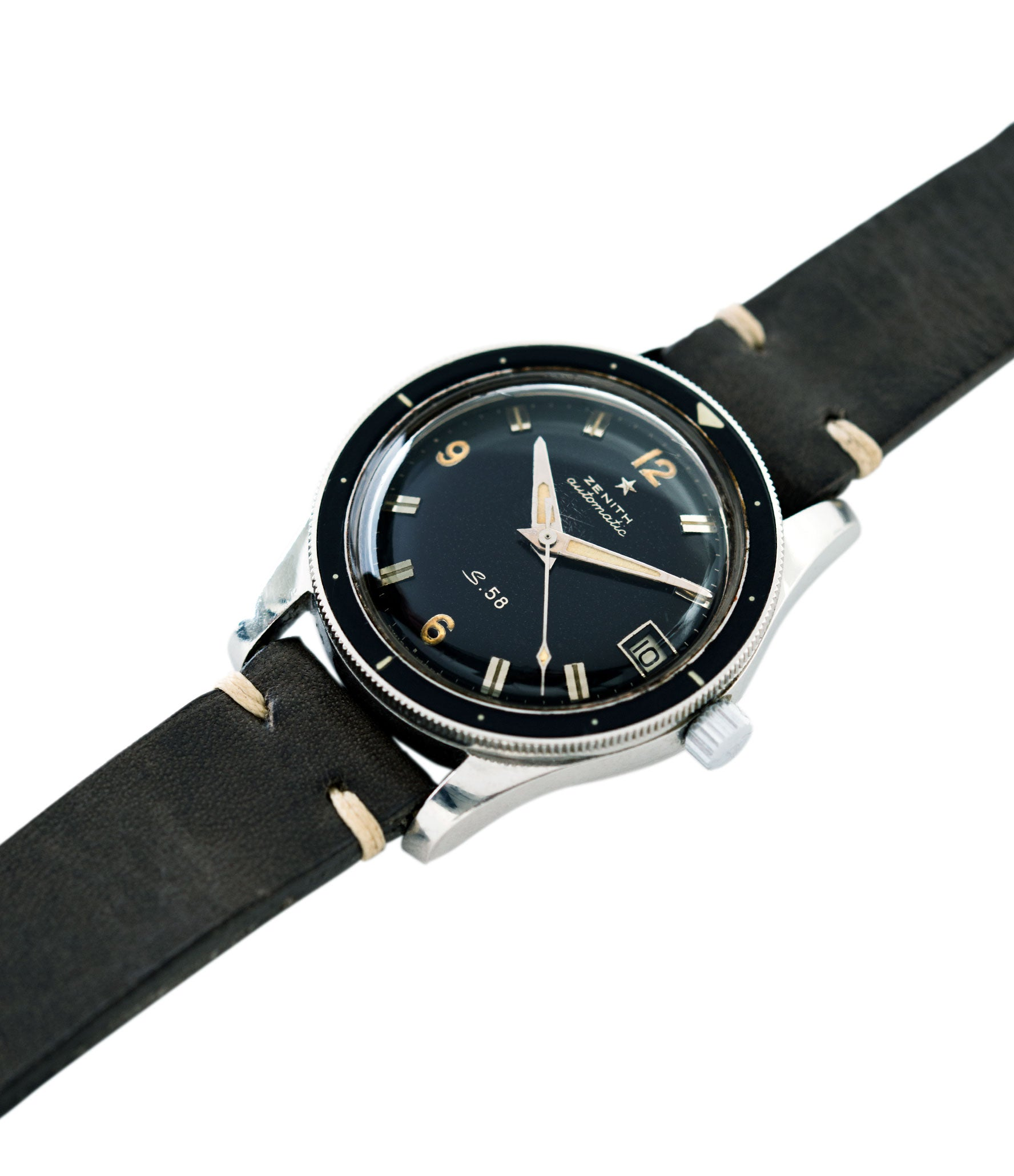 steel vintage watch S.58 Zenith Cal 2542 PC vintage steel divers watch bakelite bezel for sale online at A Collected Man London UK specialist rare vintage watches