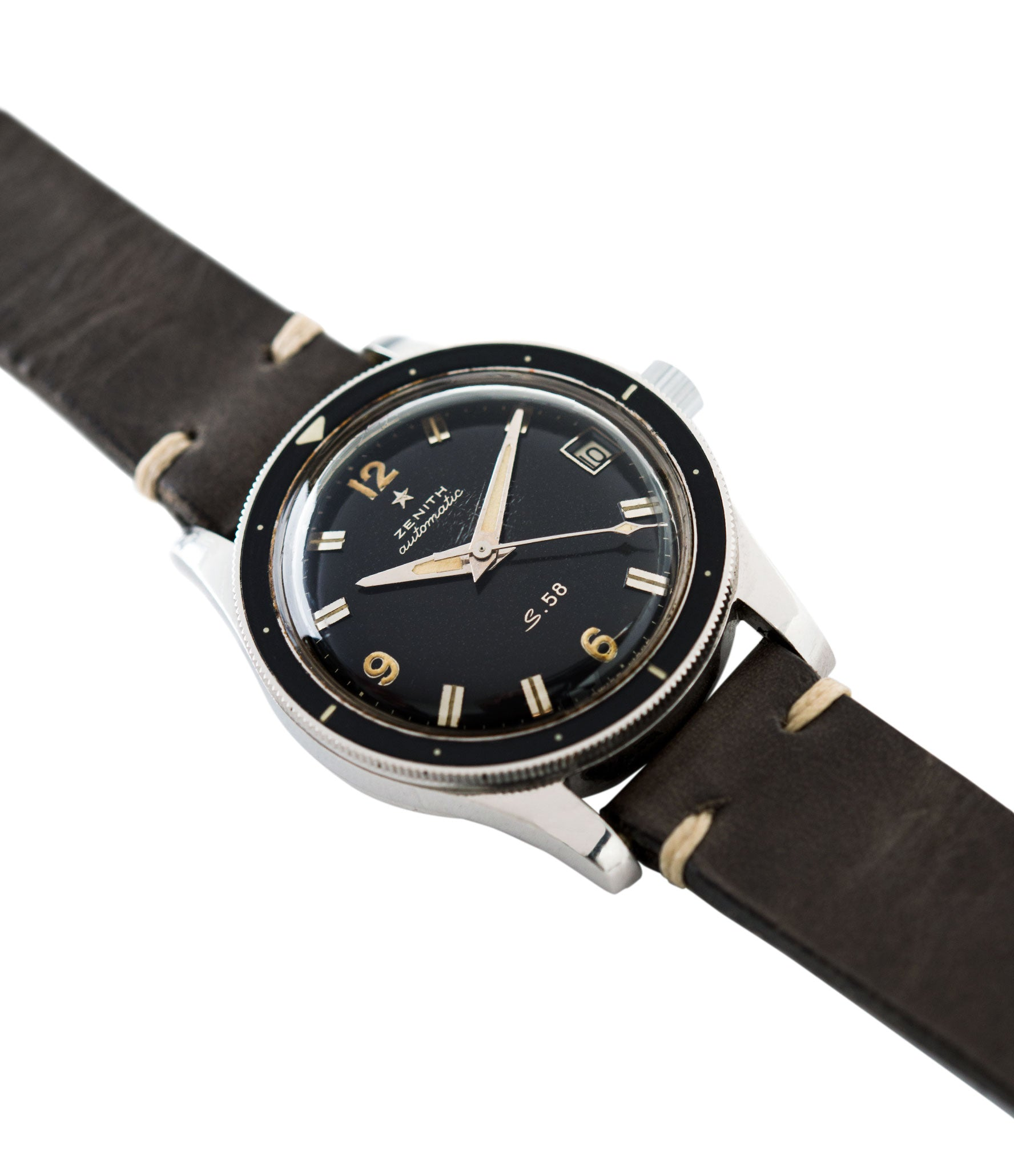 rare S.58 Zenith Cal 2542 PC vintage steel divers watch bakelite bezel for sale online at A Collected Man London UK specialist rare vintage watches