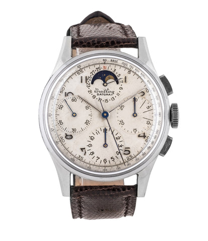 buy Breitling Datora 799 steel rare vintage chronograph moonphase unrestored dial watch online for sale WATCH XCHANGE London authenticity guaranteed