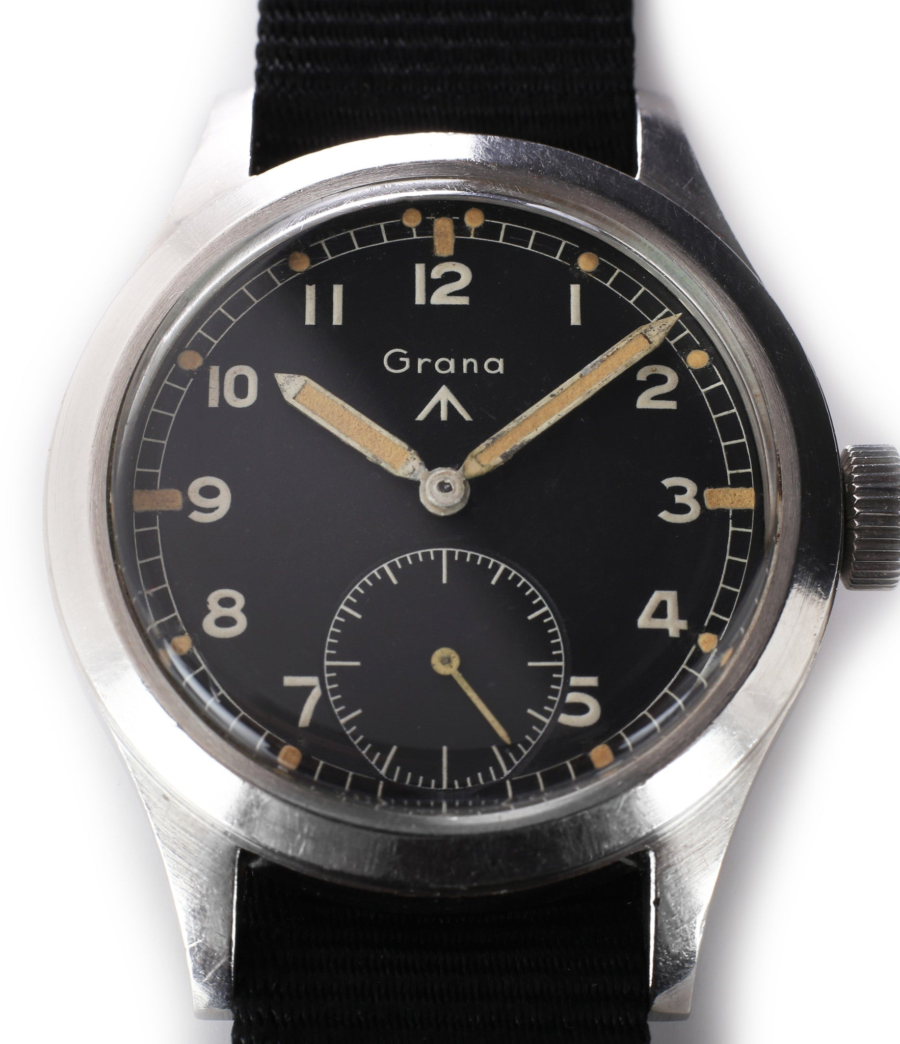 buy Dirty Dozen WWW Grana British military M18565 steel watch with black unrestored dial for sale WATCH XCHANGE London
