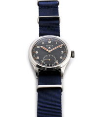 buy vintage Grana WWW military British MOD M18565 steel rare manul-winding black original dial watch for sale online WATCH XCHANGE London