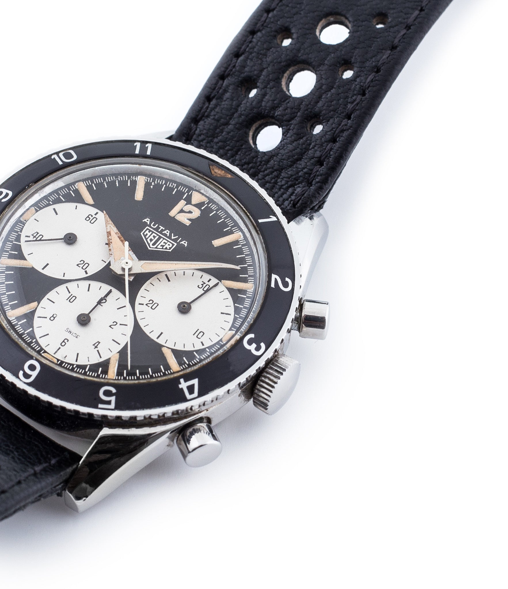 buy rare Heuer Autavia 2446 1st execution unrestored dial vintage sport steel watch with Valjoux 72 manual movement for sale online at WATCH XCHANGE London