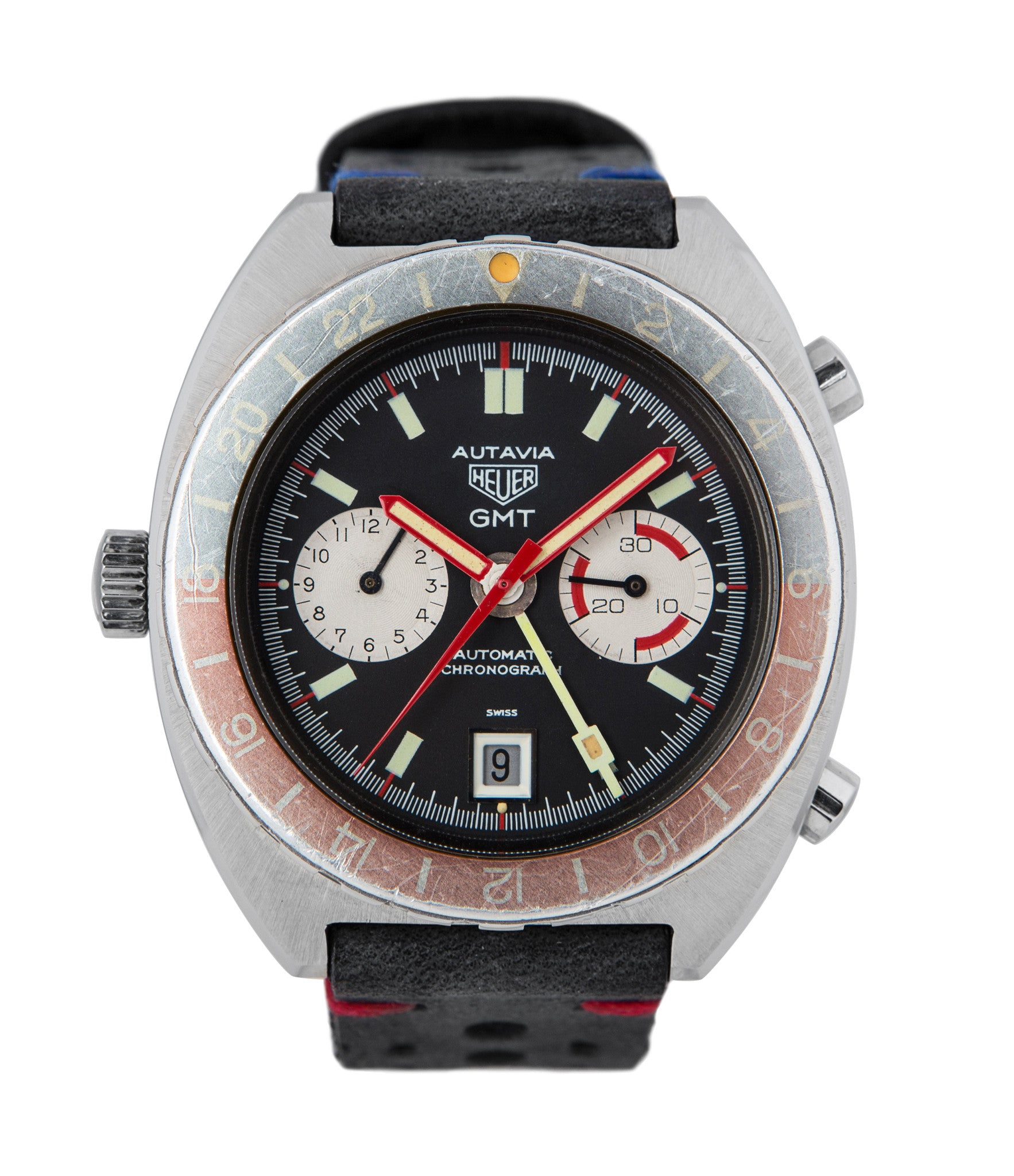 buy Heuer Autavia GMT 11630 steel vintage, rare 70s sport authentic watch for sale online at Watch Xchange London